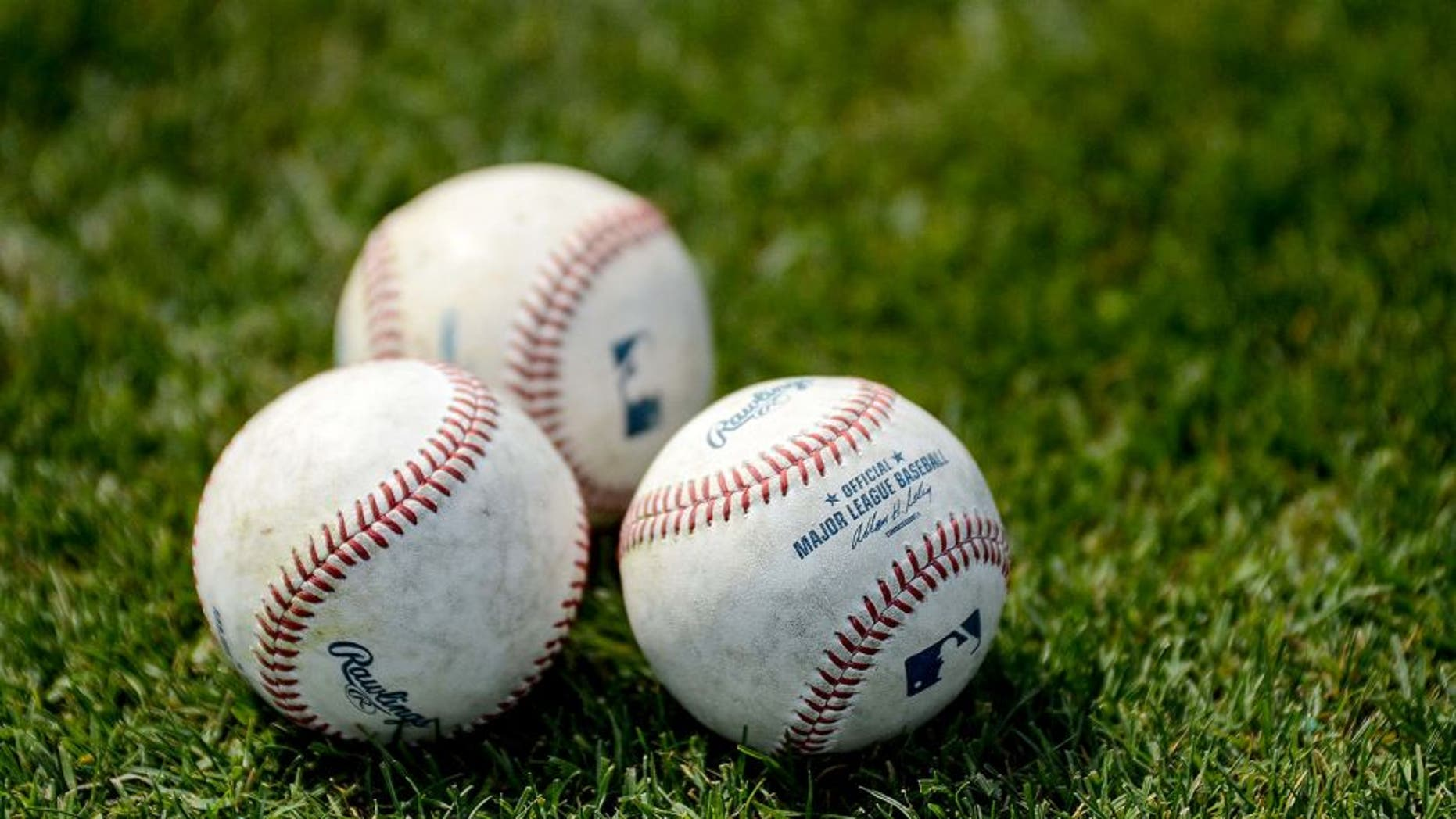 Mar 5, 2014; Dunedin, FL, USA; Baseballs sit on the field before the spring training game between the Pittsburg Pirates and Toronto Blue Jays at Florida Auto Exchange Park. Mandatory Credit: Jonathan Dyer-USA TODAY Sports