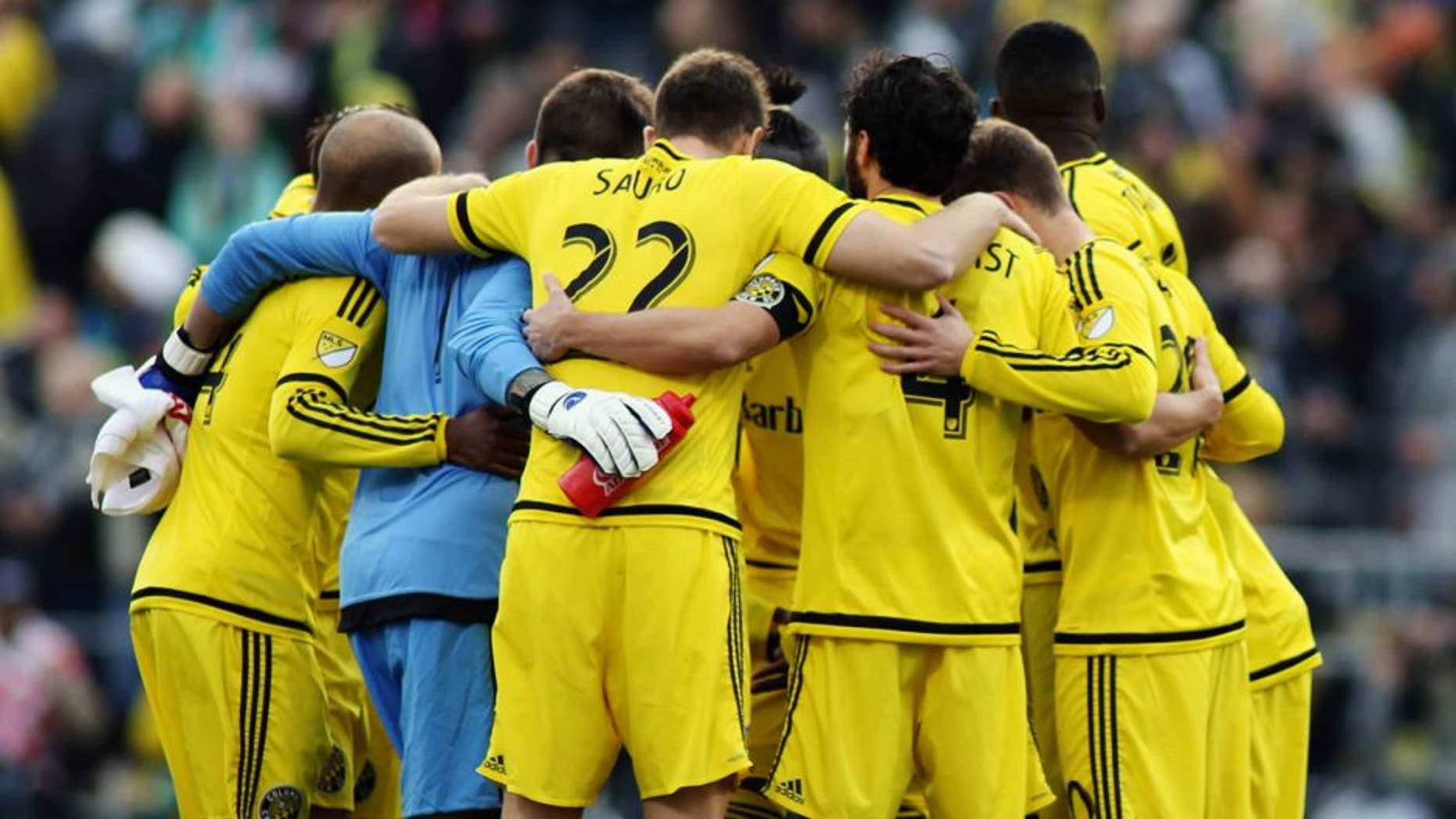 Dec 6, 2015; Columbus, OH, USA; Columbus Crew players huddle before during the first half in the 2015 MLS Cup championship game against the Portland Timbers at MAPFRE Stadium. Mandatory Credit: Trevor Ruszkowksi-USA TODAY Sports
