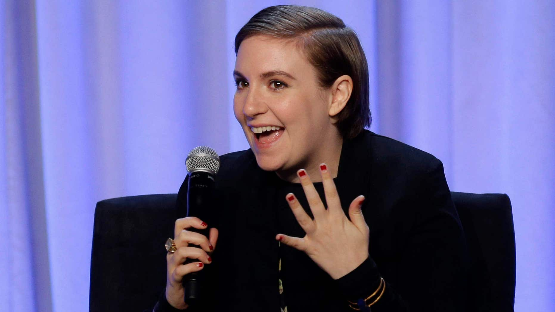 """In this Tuesday, Feb. 2, 2016 photo, writer and actress Lena Dunham speaks during a panel entitled """"Media with Purpose"""" at the American Magazine Media 360 Conference in New York."""