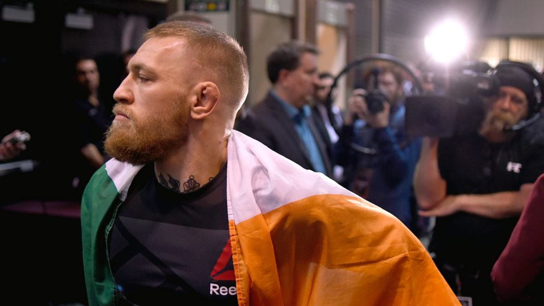 LAS VEGAS, NV - MARCH 05: Conor McGregor of Ireland prepares to walk to the Octagon to face Nate Diaz during the UFC 196 event inside MGM Grand Garden Arena on March 5, 2016 in Las Vegas, Nevada. (Photo by Todd Lussier/Zuffa LLC/Zuffa LLC via Getty Images)