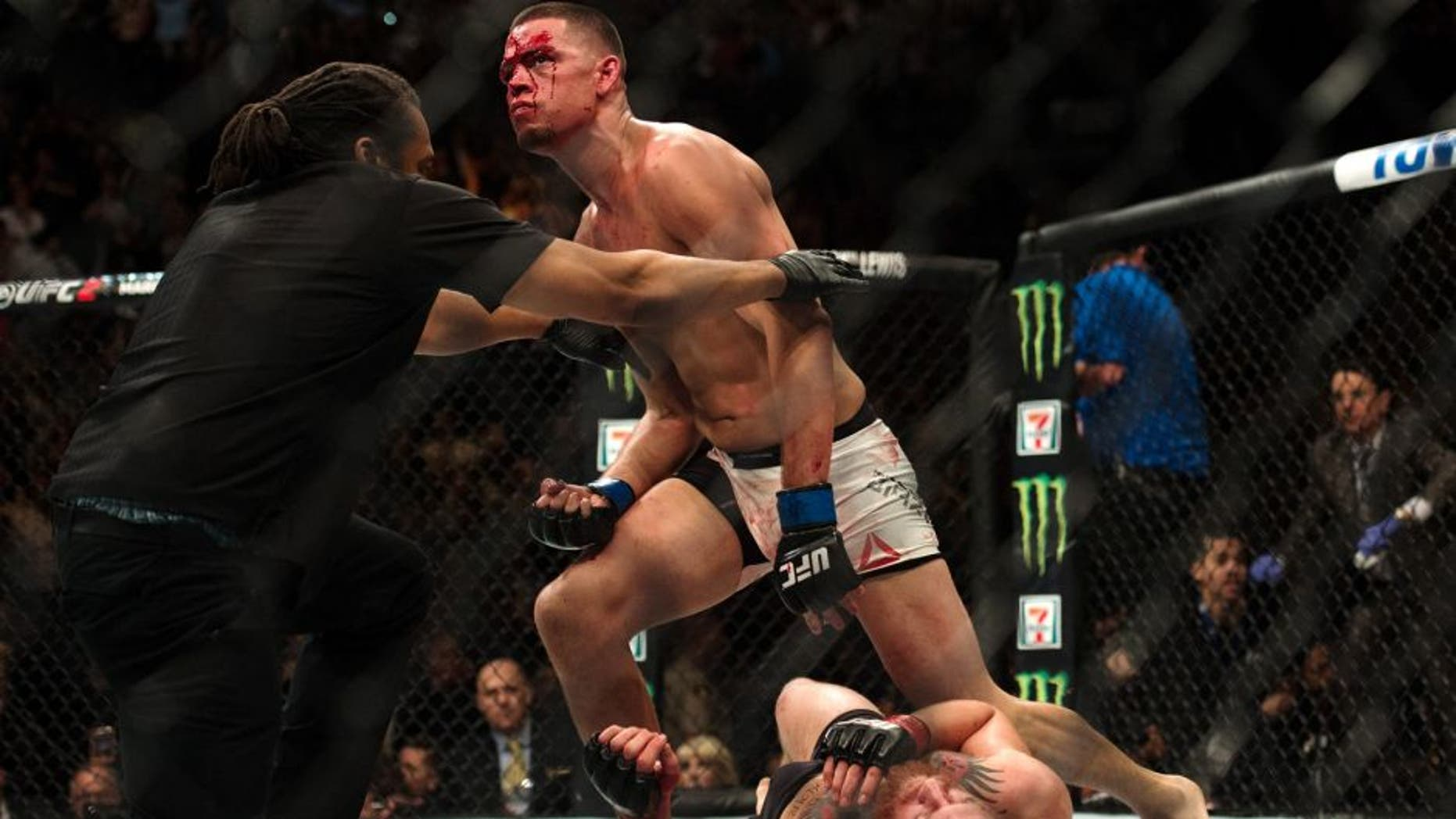 LAS VEGAS, NV - MARCH 5: Nate Diaz (top) submits Conor McGregor in their welterweight bout during the UFC 196 in the MGM Grand Garden Arena on March 5, 2016 in Las Vegas, Nevada. (Photo by Brandon Magnus/Zuffa LLC/Zuffa LLC via Getty Images)