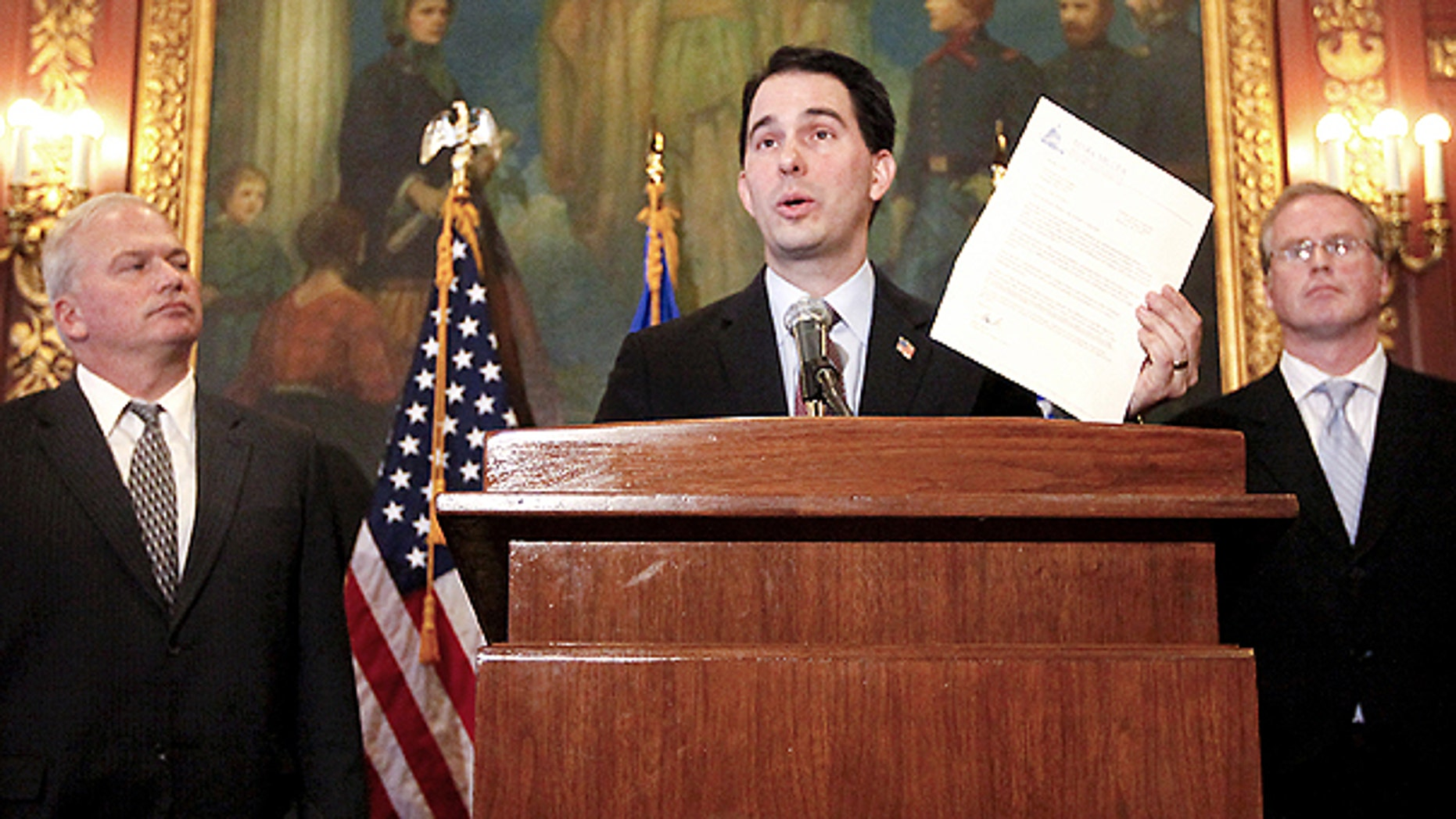 March 7: Wisconsin Governor Scott Walker addresses the media regarding a letter received from Sen. Mark Miller, D- Monona, in Madison, Wis.