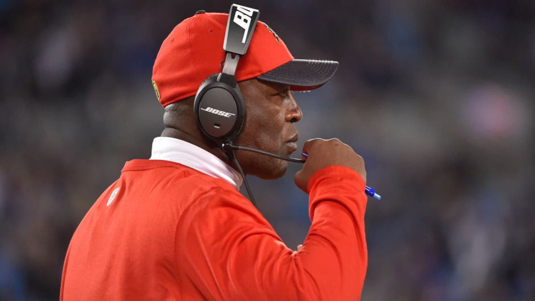 Jan 3, 2016; Charlotte, NC, USA; Tampa Bay Buccaneers head coach Lovie Smith in the fourth quarter. The Panthers defeated the Buccaneers 38-10 at Bank of America Stadium. Mandatory Credit: Bob Donnan-USA TODAY Sports