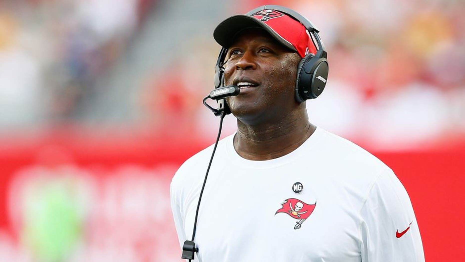 TAMPA, FL - DECEMBER 21: Head coach Lovie Smith of the Tampa Bay Buccaneers looks on during the game against the Green Bay Packers at Raymond James Stadium on December 21, 2014 in Tampa, Florida. (Photo by Kevin C. Cox/Getty Images)