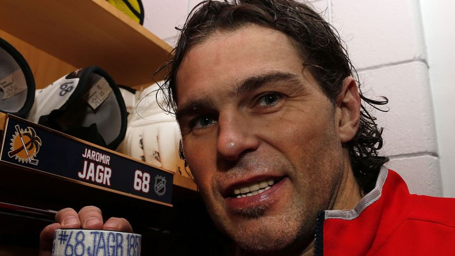 SUNRISE, FL - MARCH 7: Jaromir Jagr #68 of the Florida Panthers is third in all-time NHL points after getting an assist against the Boston Bruins. Teammate Aleksander Barkov #16 scored the goal and Jonathan Huberdeau #11 also assisted at BB&T Center at the BB&T Center on March 7, 2016 in Sunrise, Florida. (Photo by Eliot J. Schechter/NHLI via Getty Images)