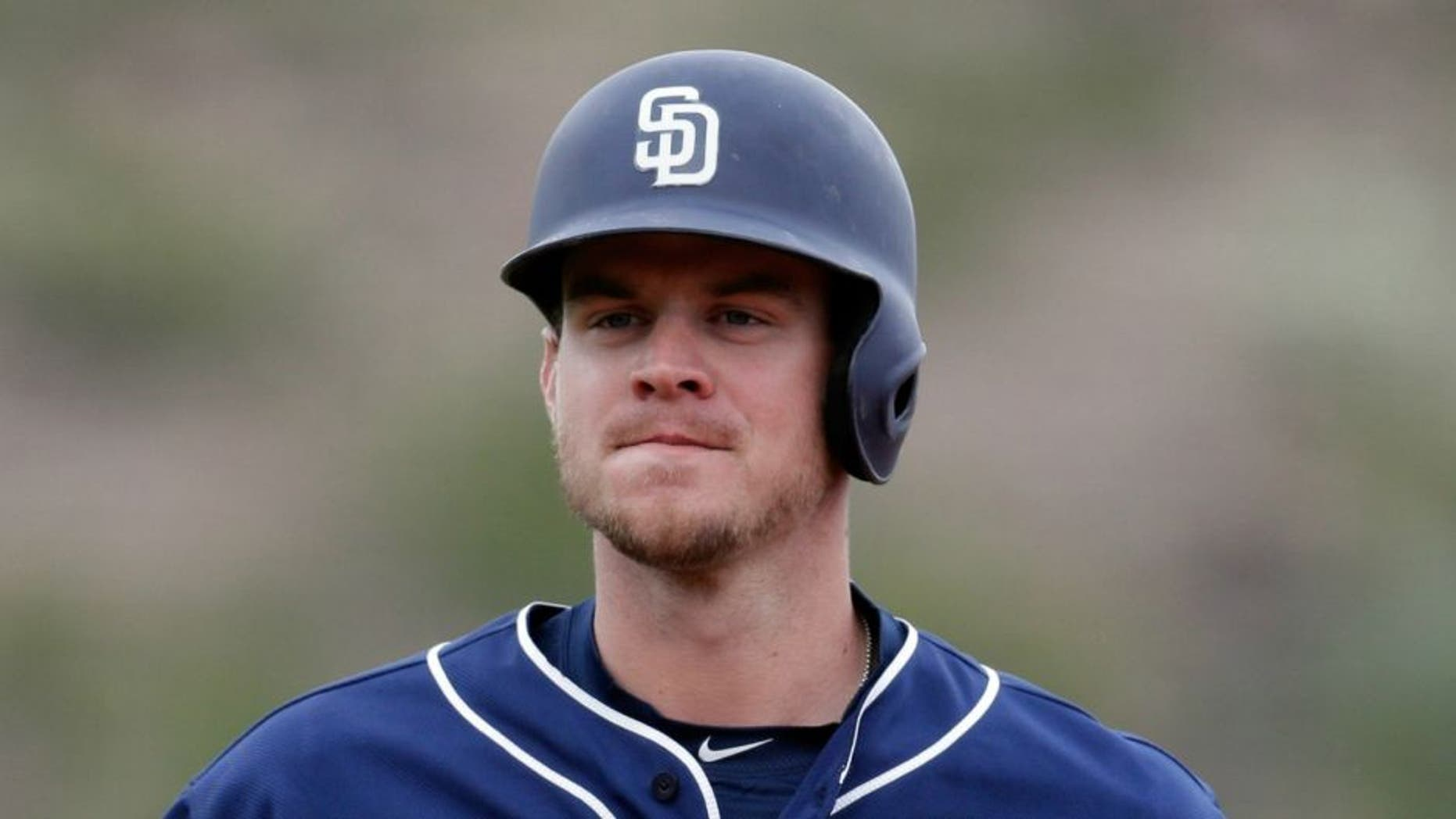 Feb 27, 2017; Tempe, AZ, USA; San Diego Padres first baseman Wil Myers (4) against the Los Angeles Angels during a spring training game at Tempe Diablo Stadium. Mandatory Credit: Rick Scuteri-USA TODAY Sports