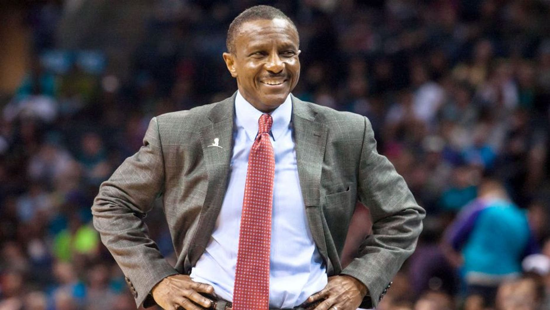 Mar 6, 2015; Charlotte, NC, USA; Toronto Raptors head coach Dwane Casey reacts after a foul call during the second half against the Charlotte Hornets at Time Warner Cable Arena. The Hornets defeated the Raptors 103-94. Mandatory Credit: Jeremy Brevard-USA TODAY Sports