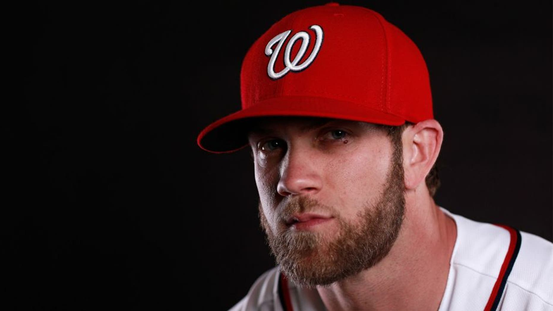 VIERA, FL - FEBRUARY 28: Bryce Harper #34 of the Washington Nationals poses for a portrait at Spring Training photo day at Space Coast Stadium on February 28, 2016 in Viera, Florida. (Photo by Chris Trotman/Getty Images)