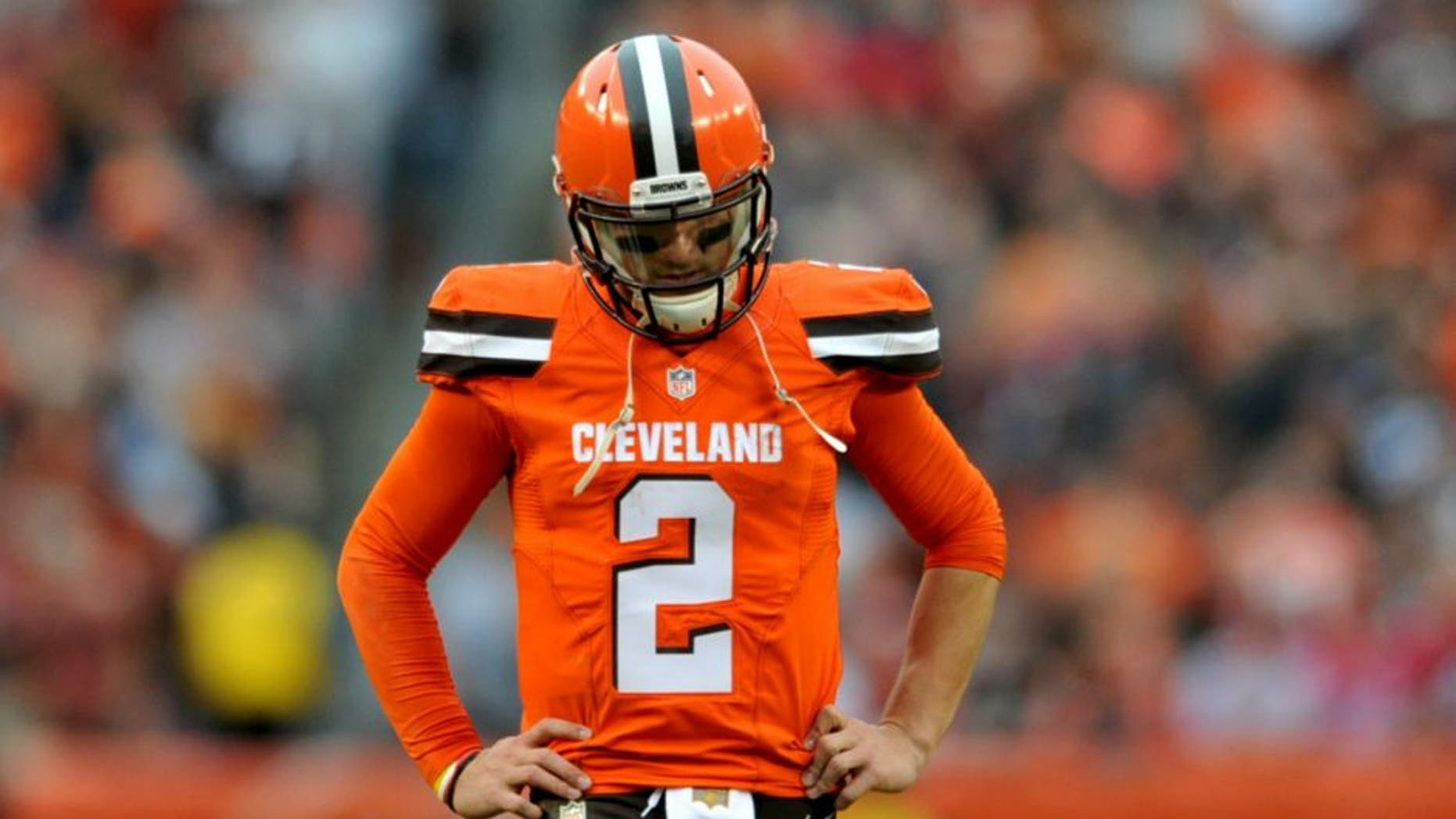 CLEVELAND, OH - DECEMBER 13, 2015: Quarterback Johnny Manziel #2 of the Cleveland Browns stands on the field during a game against the San Francisco 49ers on December 13, 2015 at FirstEnergy Stadium in Cleveland, Ohio. Cleveland won 24-10. (Photo by Nick Cammett/Diamond Images/Getty Images) *** Local Caption *** Johnny Manziel,CLEVELAND, OH - DECEMBER 13, 2015: Quarterback Johnny Manziel #2 of the Cleveland Browns stands on the field during a game against the San Francisco 49ers on December 13, 2015 at FirstEnergy Stadium in Cleveland, Ohio. Cleveland won 24-10. (Photo by Nick Cammett/Diamond Images/Getty Images)