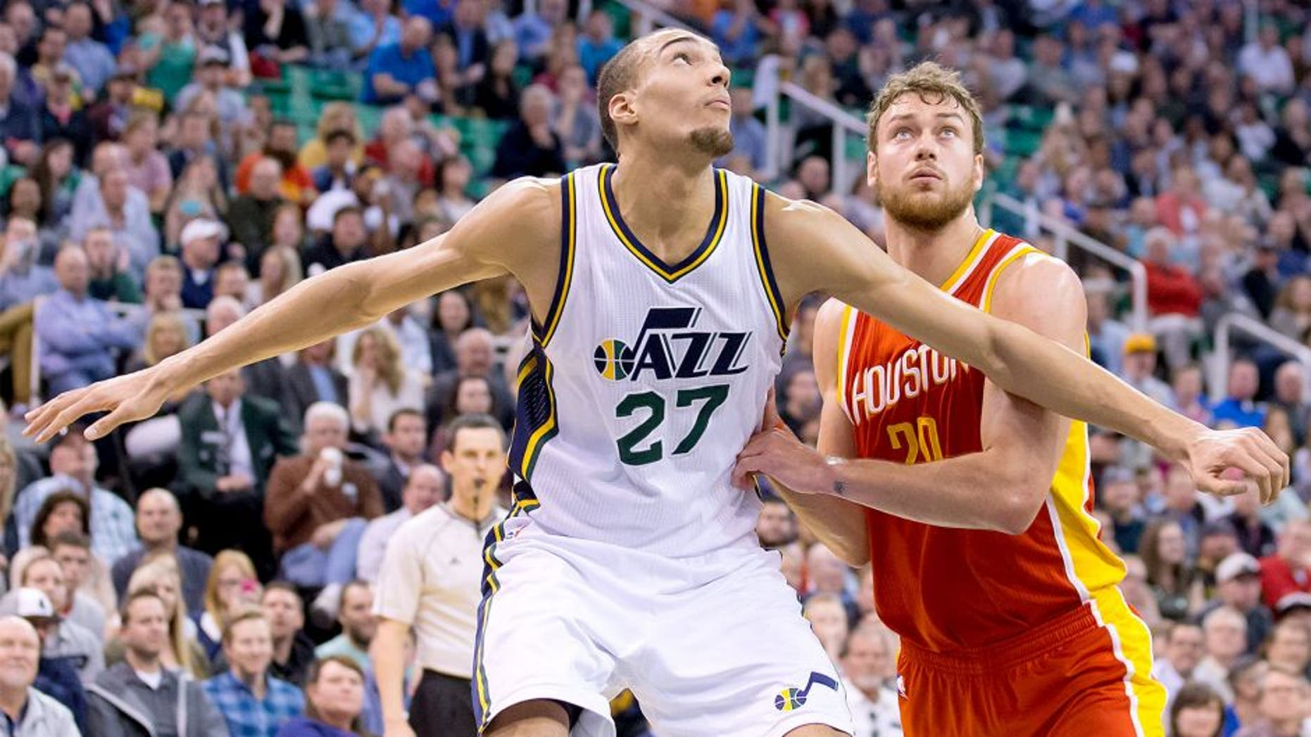 Mar 12, 2015; Salt Lake City, UT, USA; Utah Jazz center Rudy Gobert (27) boxes out Houston Rockets forward Donatas Motiejunas (20) during the first half at EnergySolutions Arena. Mandatory Credit: Russ Isabella-USA TODAY Sports