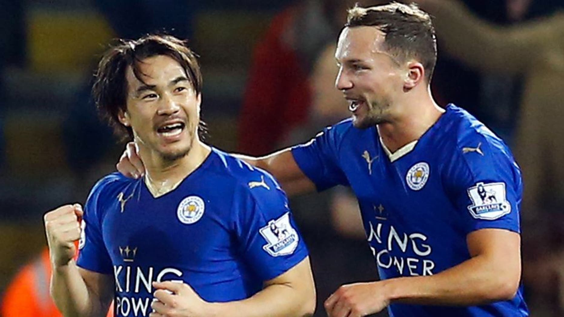 """Football Soccer - Leicester City v Newcastle United - Barclays Premier League - King Power Stadium - 14/3/16 Shinji Okazaki celebrates scoring the first goal for Leicester City with Danny Drinkwater Reuters / Darren Staples Livepic EDITORIAL USE ONLY. No use with unauthorized audio, video, data, fixture lists, club/league logos or """"live"""" services. Online in-match use limited to 45 images, no video emulation. No use in betting, games or single club/league/player publications. Please contact your account representative for further details."""