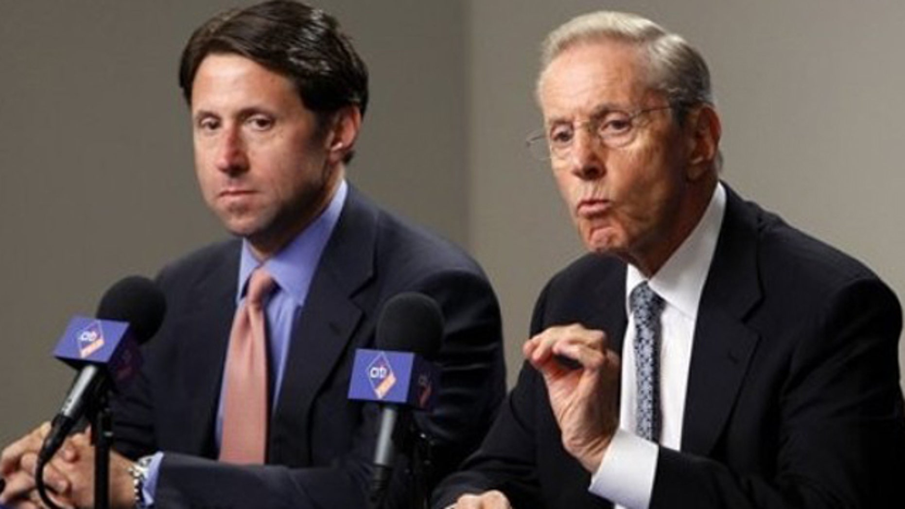 Oct. 4, 2010: New York Mets owner and CEO Fred Wilpon, right, and COO Jeff Wilpon speak to the media during a news conference at Citi Field in New York.