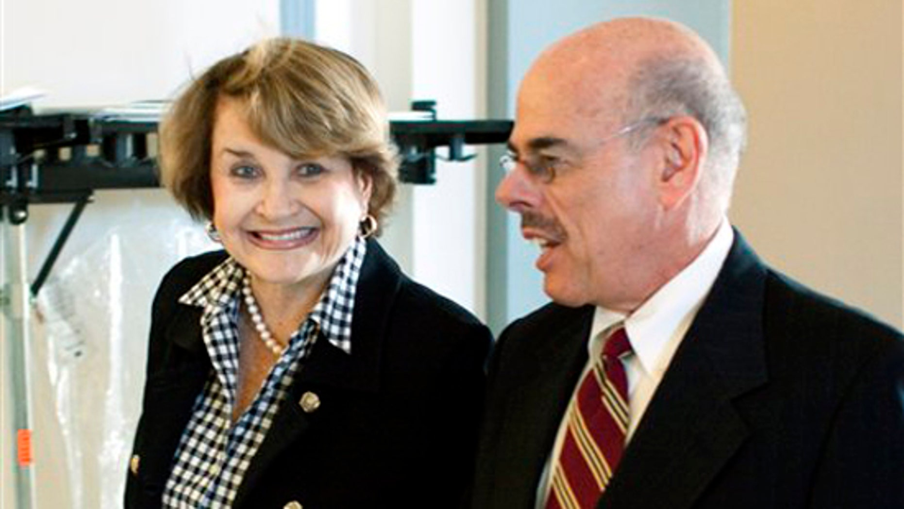 Chairman of the House Rules Committee, Rep. Louise Slaughter, D-N.Y., walks to the Democratic Caucus with Rep. Henry Waxman, D-Calif., on Capitol Hill in Washington, Friday, March 19, 2010.(AP)