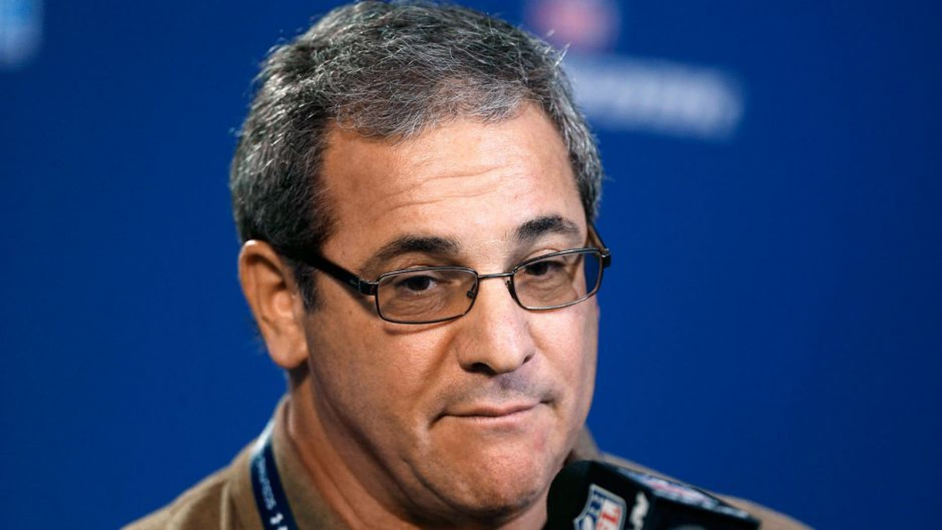 Feb 20, 2014; Indianapolis, IN, USA; Carolina Panthers general manager Dave Gettleman speaks during a press conference during the 2014 NFL Combine at Lucas Oil Stadium. Mandatory Credit: Brian Spurlock-USA TODAY Sports