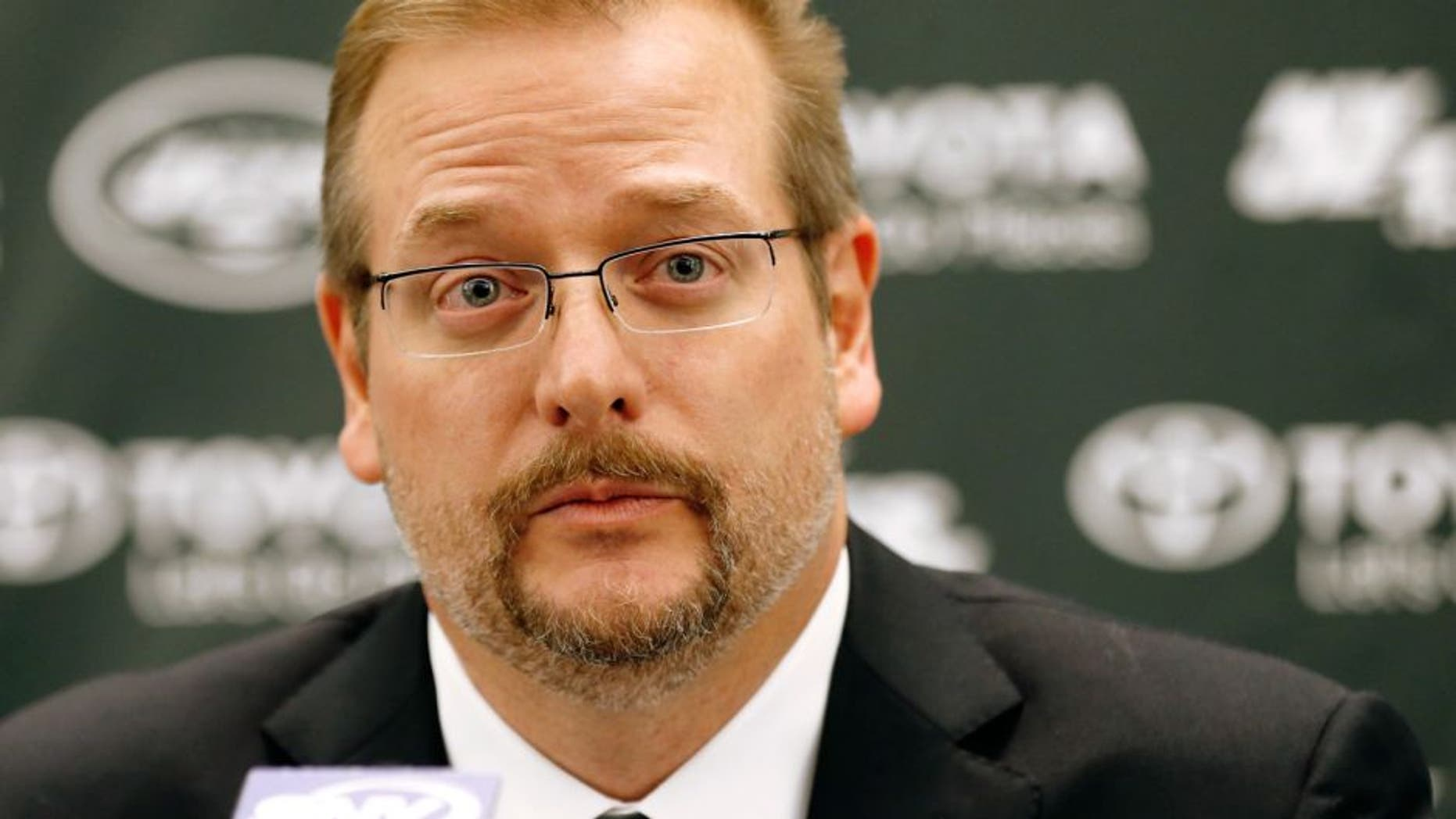 Jan 21, 2015; Florham Park, NJ, USA; New York Jets new general manager Mike Maccagnan speaks during a press conference at Atlantic Health Jets Training Center. Mandatory Credit: William Perlman/NJ Advance Media for NJ.com via USA TODAY Sports