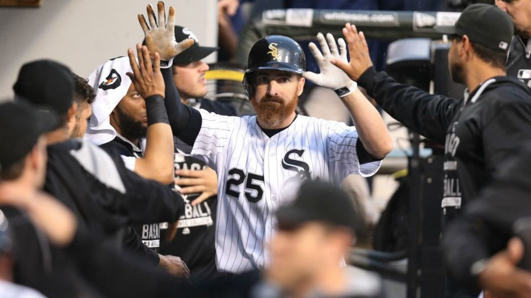 The Chicago White Sox's Adam LaRoche (25) is congratulated by teammates after his two-run double in the first inning against the Toronto Blue Jays at U.S. Cellular Field in Chicago on Wednesday, July 8, 2015. (Chris Sweda/Chicago Tribune/TNS),The Chicago White Sox's Adam LaRoche (25) is congratulated by teammates after his two-run double in the first inning against the Toronto Blue Jays at U.S. Cellular Field in Chicago on Wednesday, July 8, 2015. (Chris Sweda/Chicago Tribune/TNS via Getty Images)