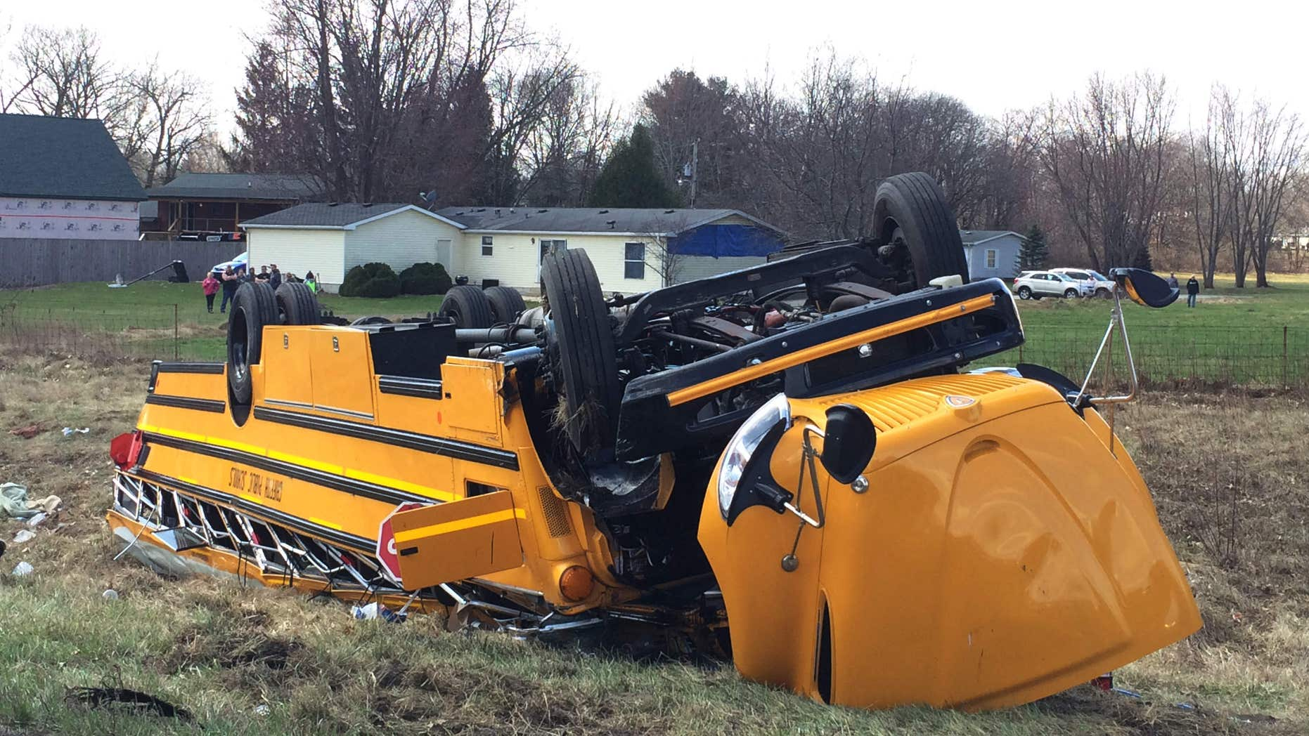 March 19, 2016: A school bus carrying Griffith High boys basketball team is seen overturned in Demotte, Ind.