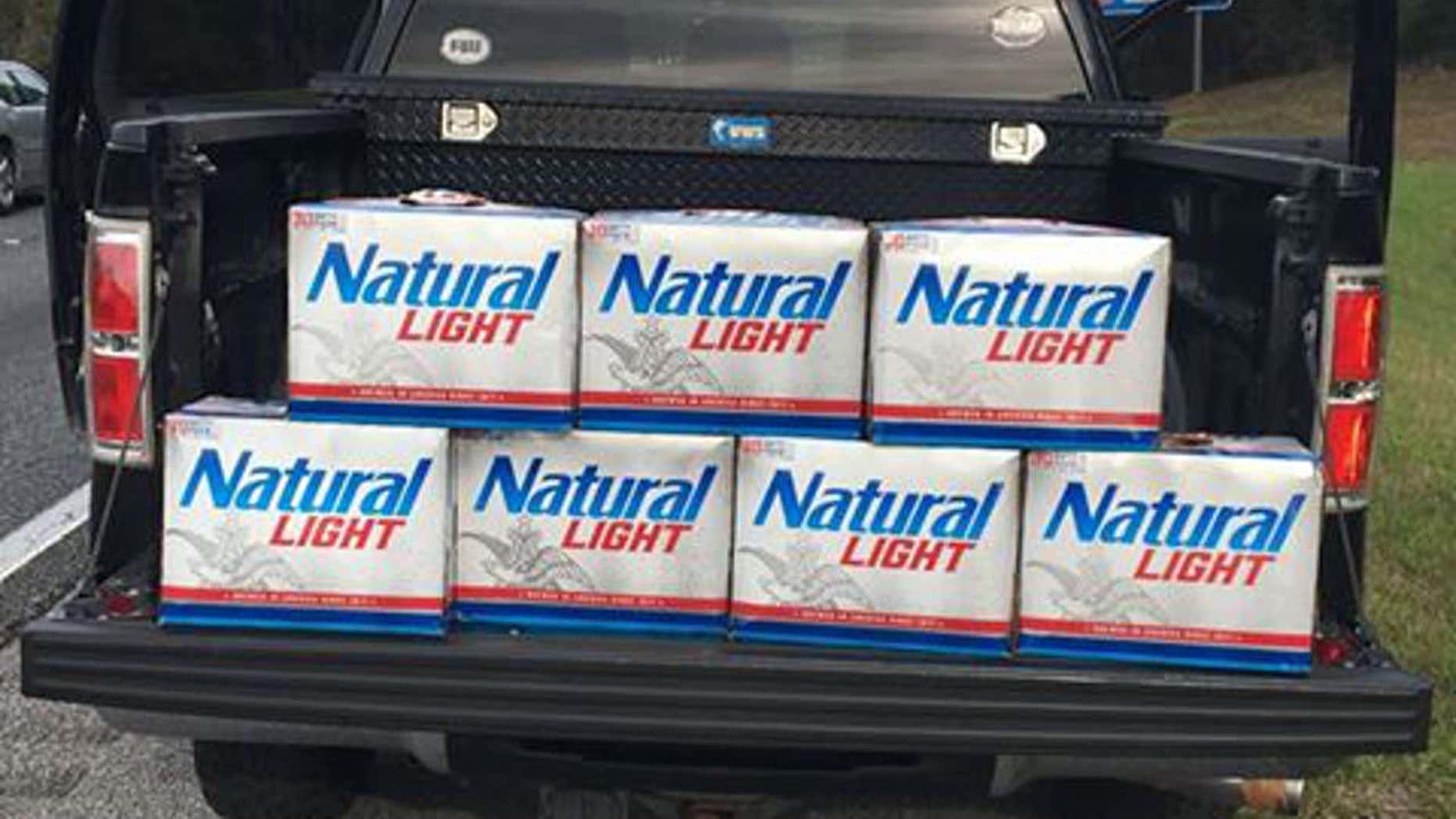 Okaloosa County Sheriff's deputies find seven 30-packs of beer in teen's truck.
