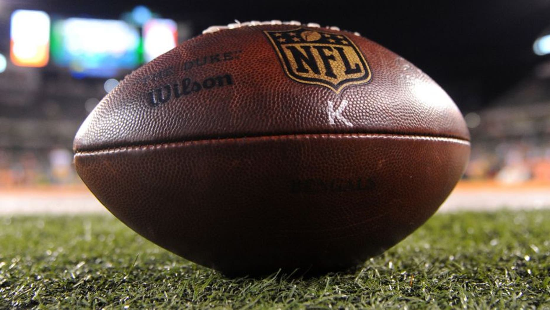 Jan 9, 2016; Cincinnati, OH, USA; A detail view of a football before the AFC Wild Card playoff football game between the Cincinnati Bengals and the Pittsburgh Steelers at Paul Brown Stadium. Mandatory Credit: Christopher Hanewinckel-USA TODAY Sports