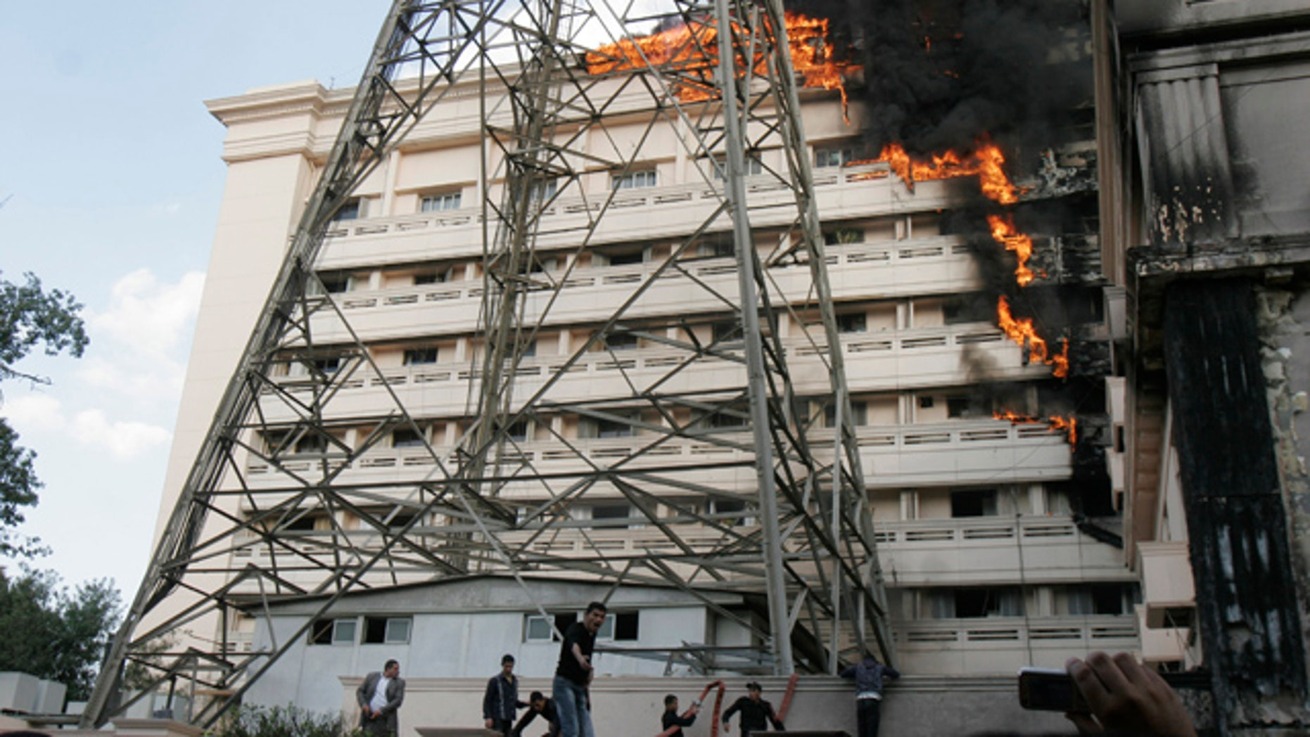 March 22: Flames engulf part of the Interior Ministry complex in Cairo, Egypt.