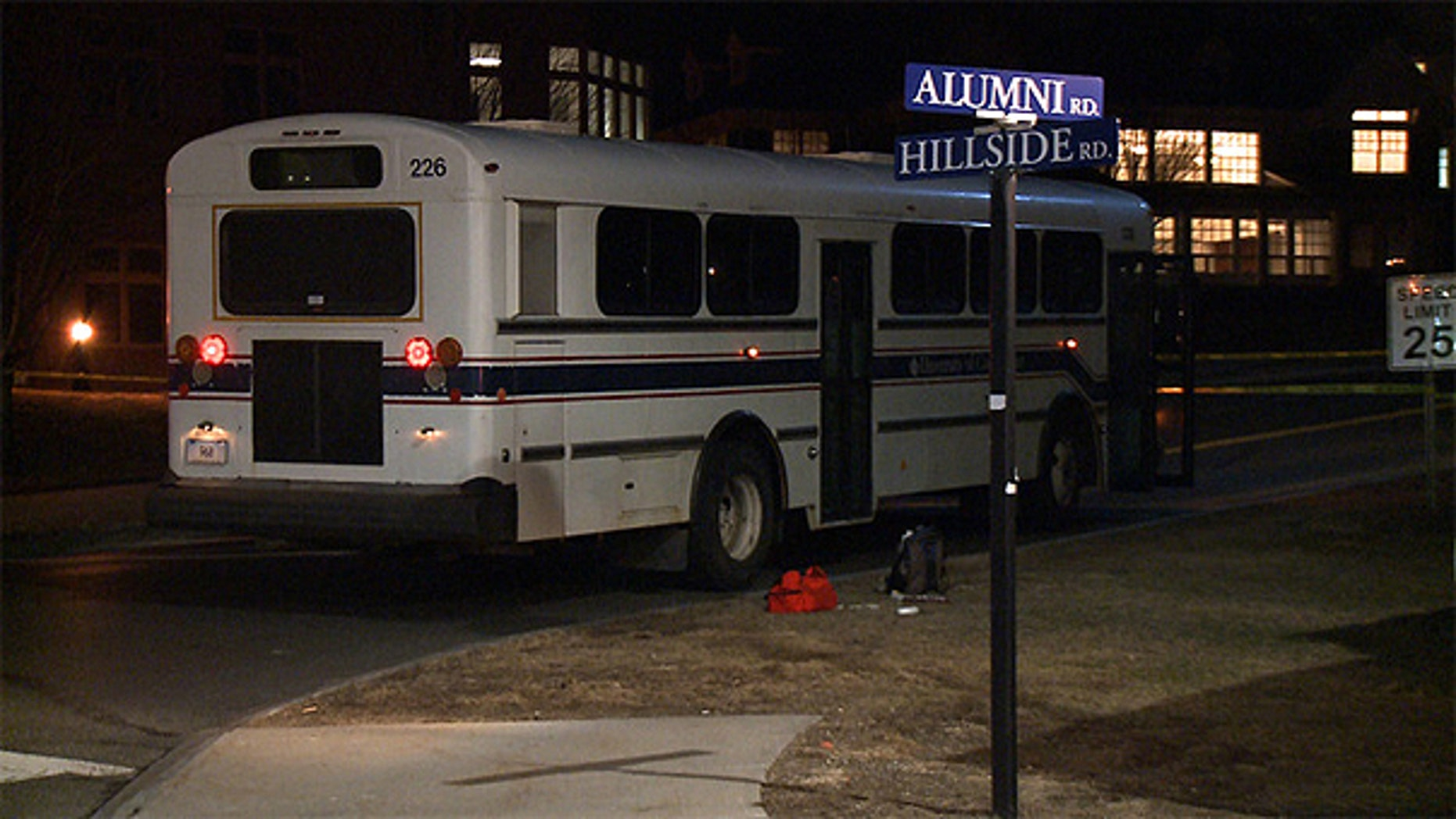 March 22: A male pedestrian was struck by a campus shuttle bus at the intersection of Hillside and Alumni roads, near the North Parking Garage, UConn police said.