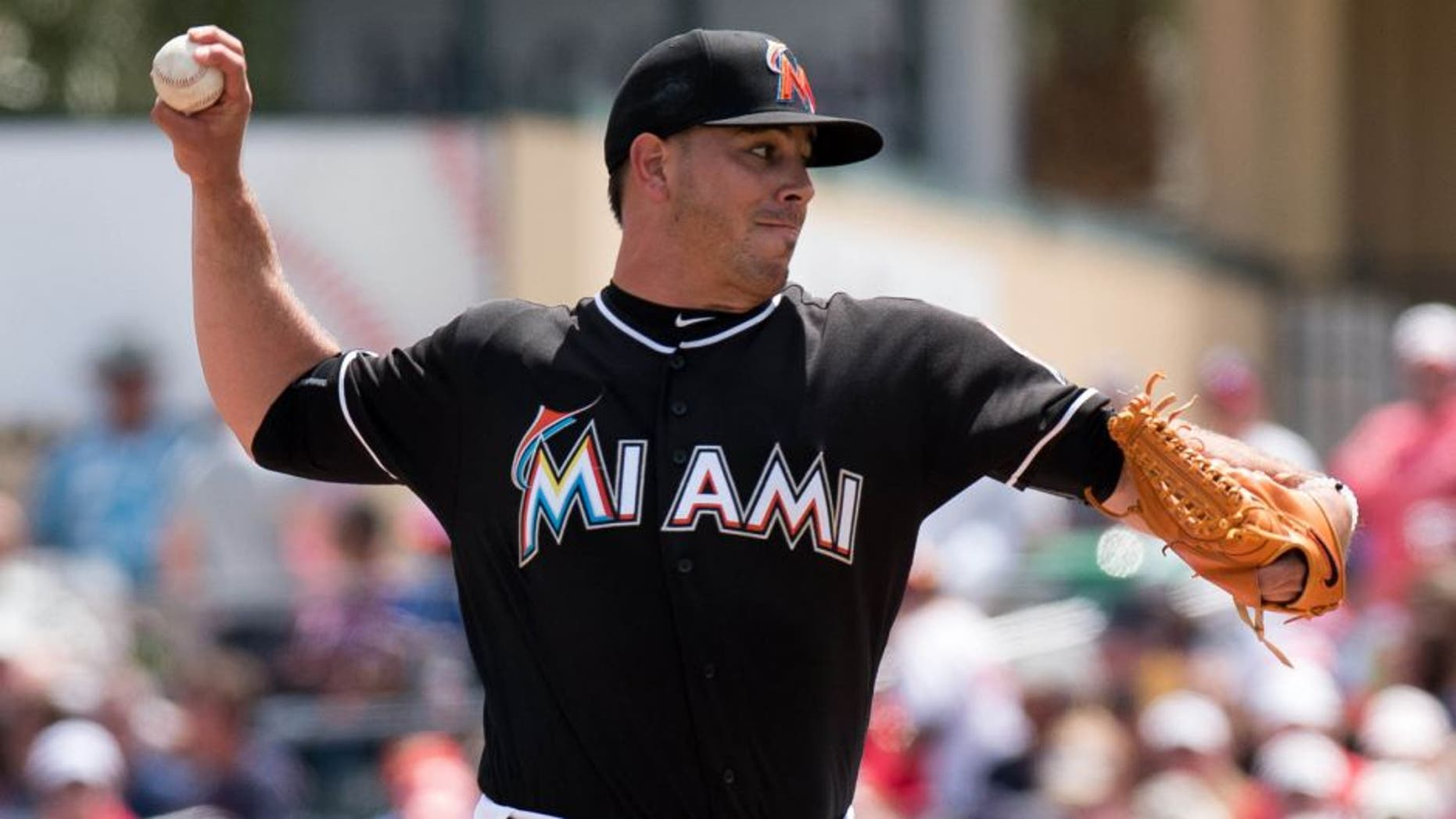 Mar 22, 2016; Jupiter, FL, USA; Miami Marlins starting pitcher Jose Fernandez (16) delivers a pitch during a spring training game against the Boston Red Sox at Roger Dean Stadium. Mandatory Credit: Steve Mitchell-USA TODAY Sports