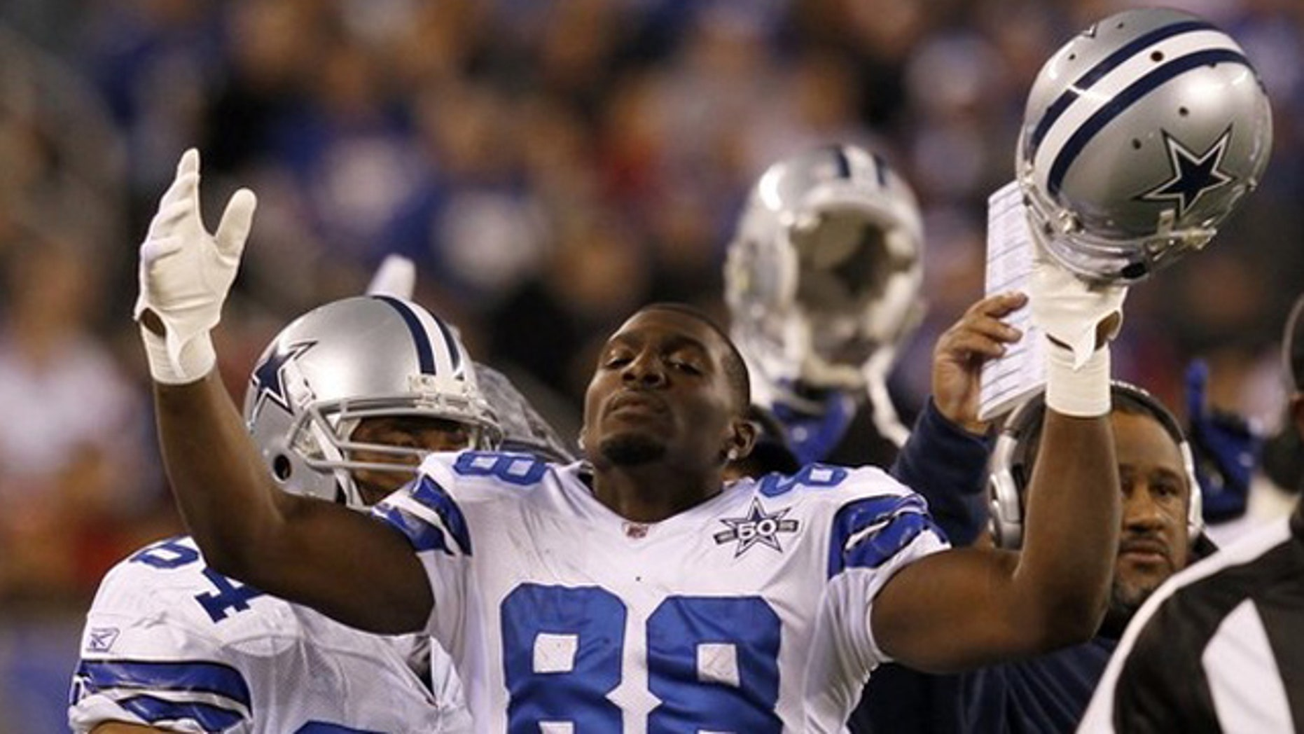 Nov. 14, 2010: Dallas Cowboys wide receiver Dez Bryan (88) celebrates after his catch was ruled a touchdown on replay during the first quarter of their NFL football game against the New York Giants in East Rutherford, New Jersey.