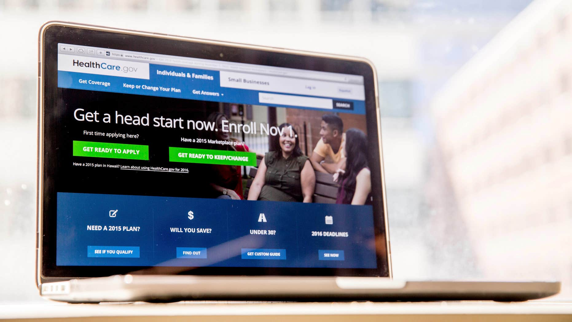 Oct. 6, 2015: Photo shows the HealthCare.gov website, where people can buy health insurance, is displayed on a laptop screen in Washington.
