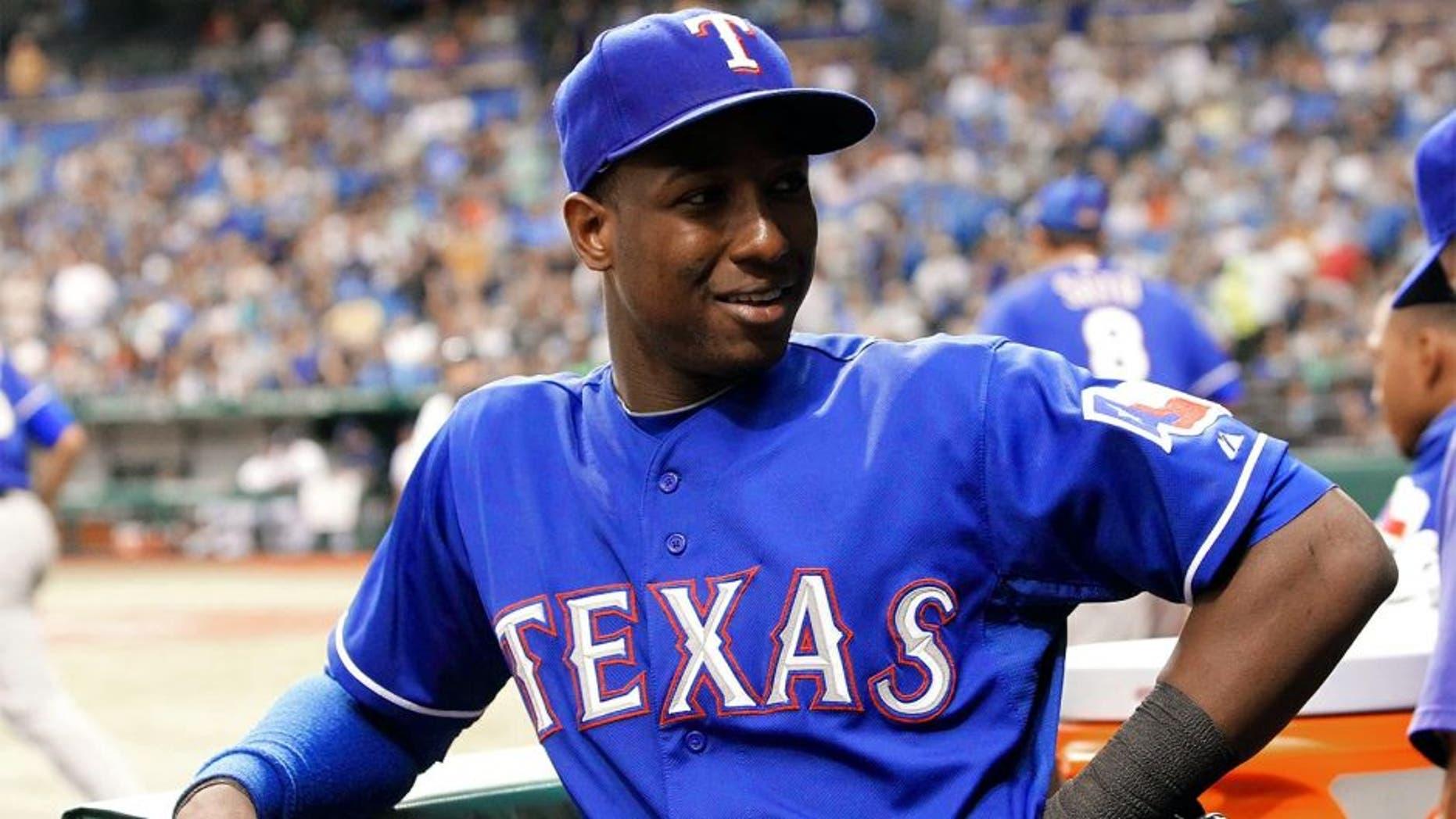 Sep 18, 2013; St. Petersburg, FL, USA; Texas Rangers second baseman Jurickson Profar (13) against the Tampa Bay Rays at Tropicana Field. Mandatory Credit: Kim Klement-USA TODAY Sports