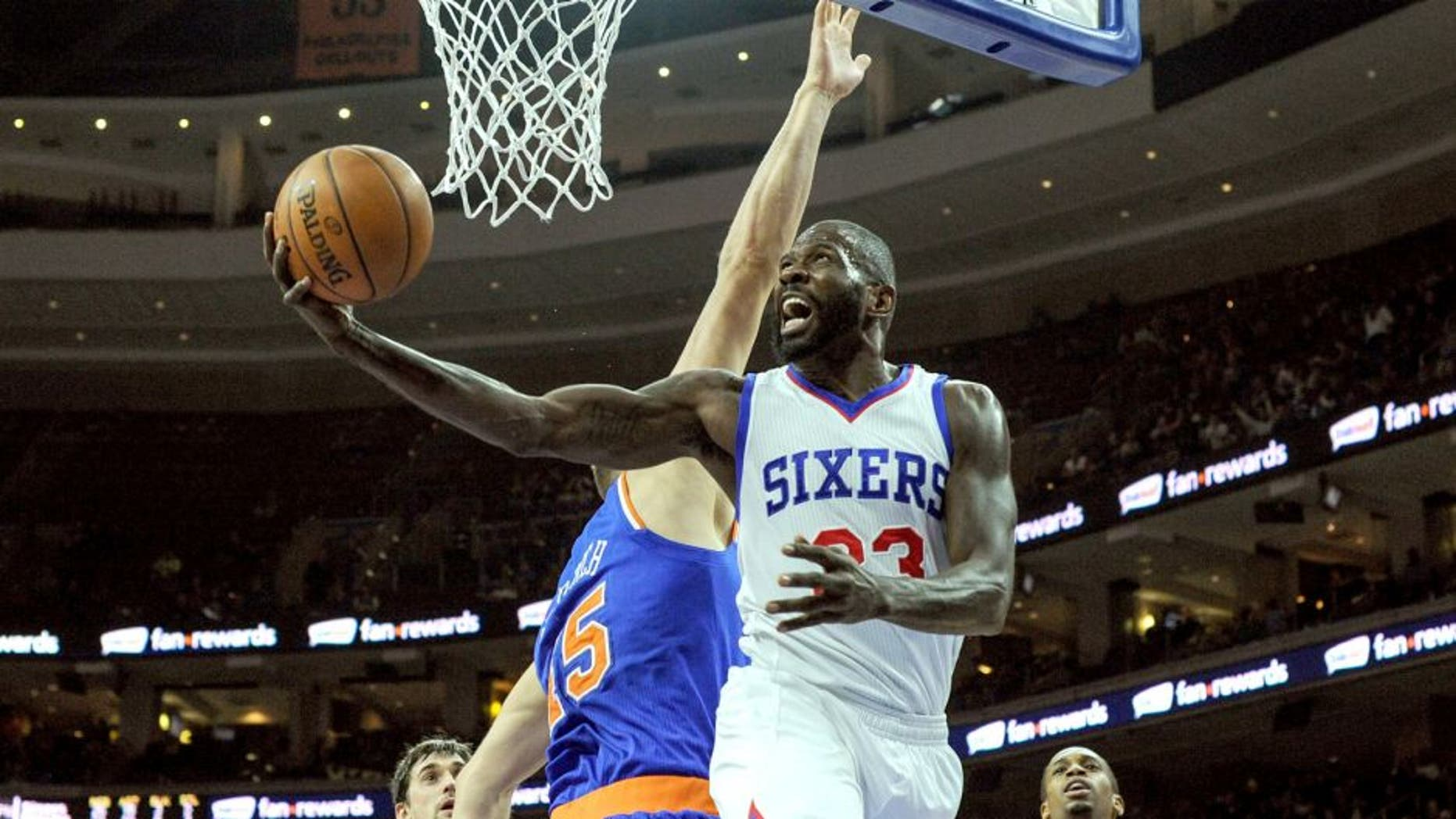 Mar 20, 2015; Philadelphia, PA, USA; Philadelphia 76ers guard Jason Richardson (23) goes up for a shot during the third quarter of the game against the New York Knicks at the Wells Fargo Center. The Sixers won the game 97-81. Mandatory Credit: John Geliebter-USA TODAY Sports