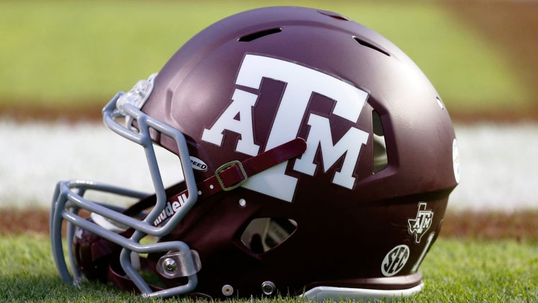 Sep 13, 2014; College Station, TX, USA; A Texas A&M Aggies helmet rest on the field prior to the game against the Rice Owls at Kyle Field. Mandatory Credit: Soobum Im-USA TODAY Sports