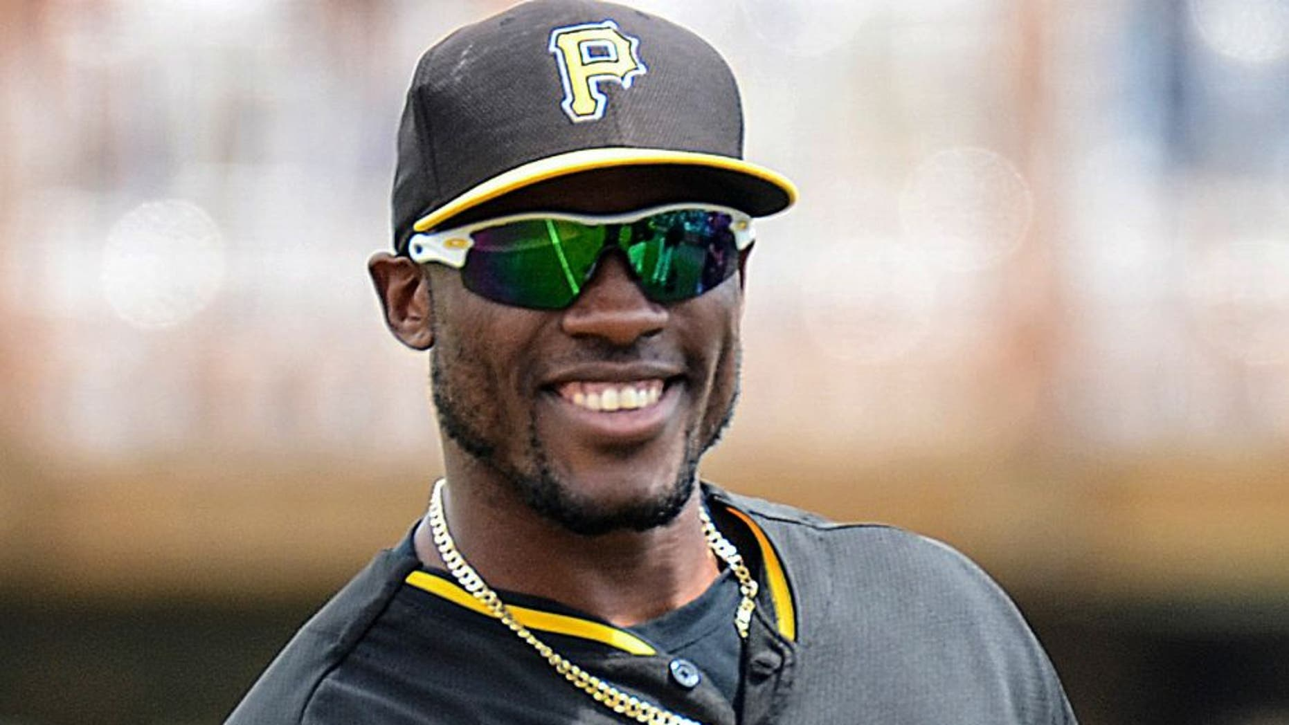 Mar 25, 2014; Bradenton, FL, USA; Pittsburgh Pirates outfielder Starling Marte (6) smiles before the start of the spring training exhibition game against the Toronto Blue Jays at McKechnie Field. Mandatory Credit: Jonathan Dyer-USA TODAY Sports