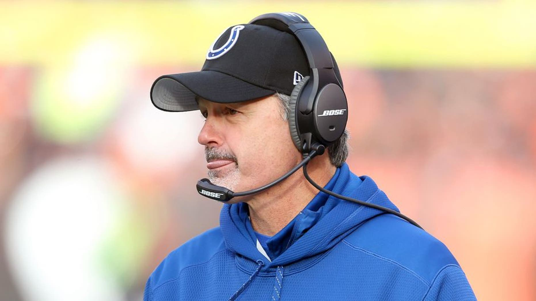 Dec 7, 2014; Cleveland, OH, USA; Indianapolis Colts head coach Chuck Pagano against the Cleveland Browns at FirstEnergy Stadium. The Cots won 25-24. Mandatory Credit: Ron Schwane-USA TODAY Sports