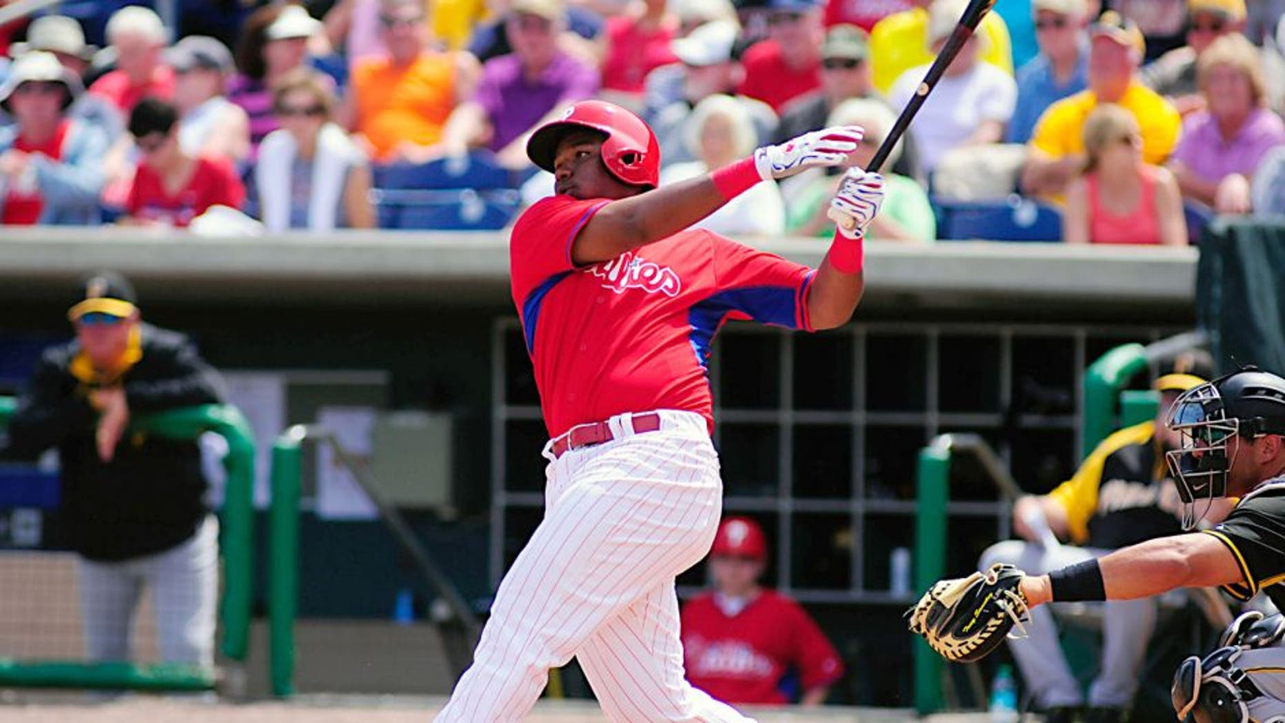 Mar 16, 2014; Clearwater, FL, USA; Philadelphia Phillies third baseman Maikel Franco (74) bats in the third inning against the Pittsburgh Pirates in a spring training exhibition at Bright House Field. Mandatory Credit: David Manning-USA TODAY Sports