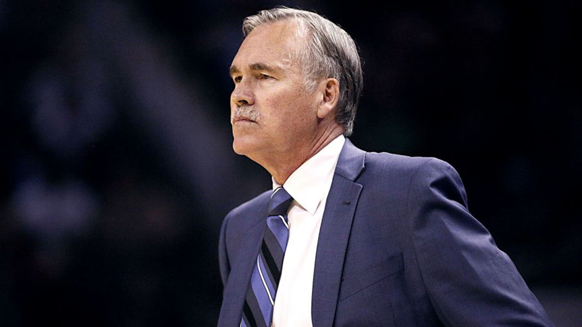Mar 14, 2014; San Antonio, TX, USA; Los Angeles Lakers head coach Mike D'Antoni watches from the sideline against the San Antonio Spurs during the first half at AT&T Center. Mandatory Credit: Soobum Im-USA TODAY Sports