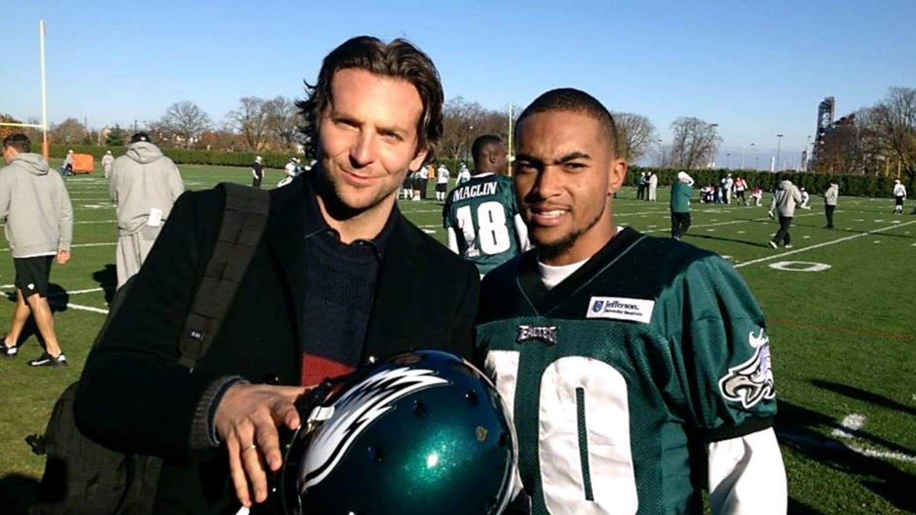 Actor, Bradley Cooper, of Silver Lining Playbook, went to Philadelphia Eagles' practice today and met with Eagles' wide receiver, DeSean Jackson. Bradley Cooper wears Jackson's #10 Jersey in the movie; and, DeSean Jackson also receives a mention in the movie which is scheduled on open in select theaters on Friday.
