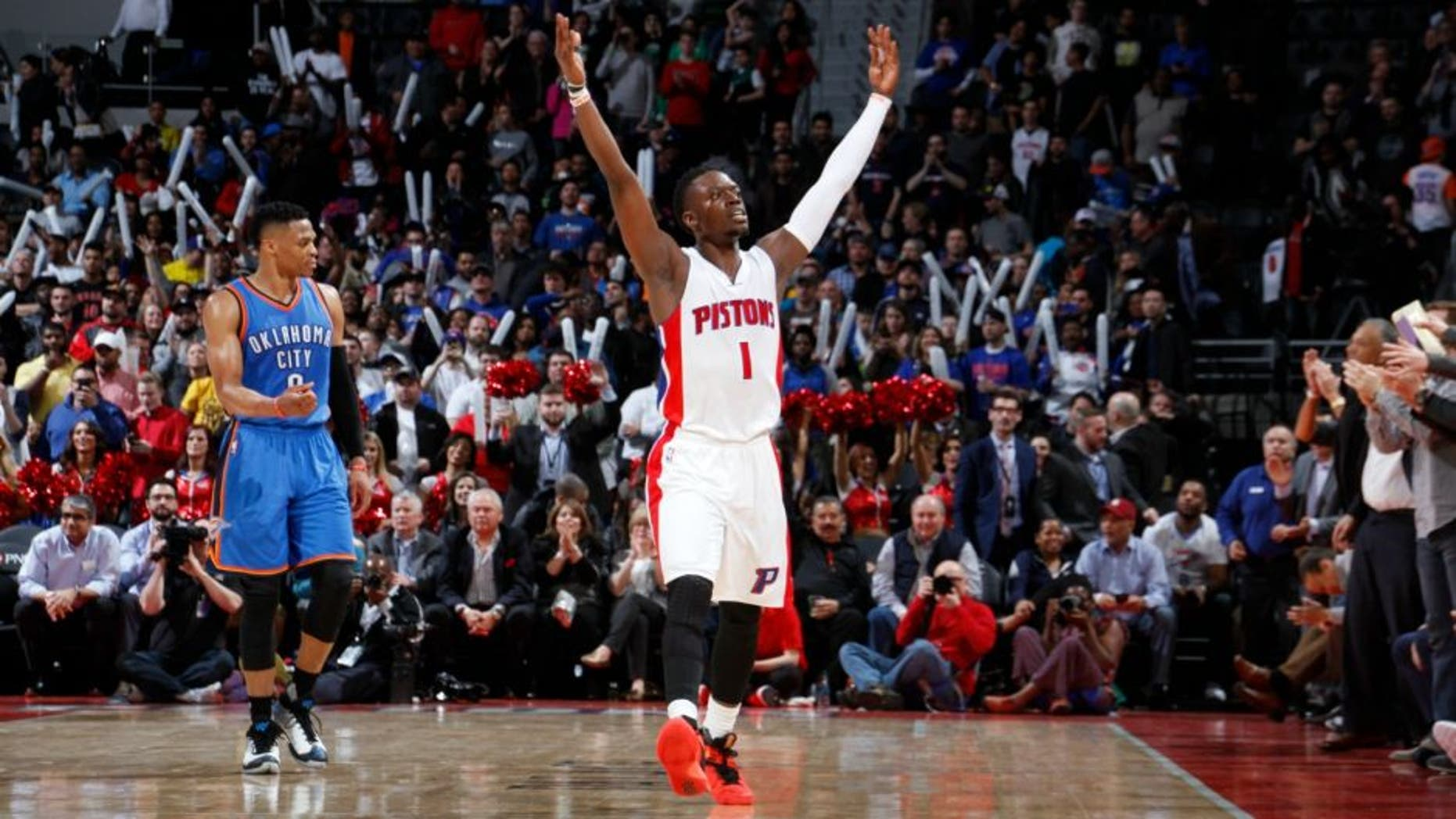 AUBURN HILLS, MI - MARCH 29: Reggie Jackson #1 of the Detroit Pistons reacts after a play against the Oklahoma City Thunder during the game on March 29, 2016 at The Palace of Auburn Hills in Auburn Hills, Michigan. NOTE TO USER: User expressly acknowledges and agrees that, by downloading and or using this Photograph, user is consenting to the terms and conditions of the Getty Images License Agreement. Mandatory Copyright Notice: Copyright 2016 NBAE (Photo by B. Sevald/Einstein/NBAE via Getty Images)