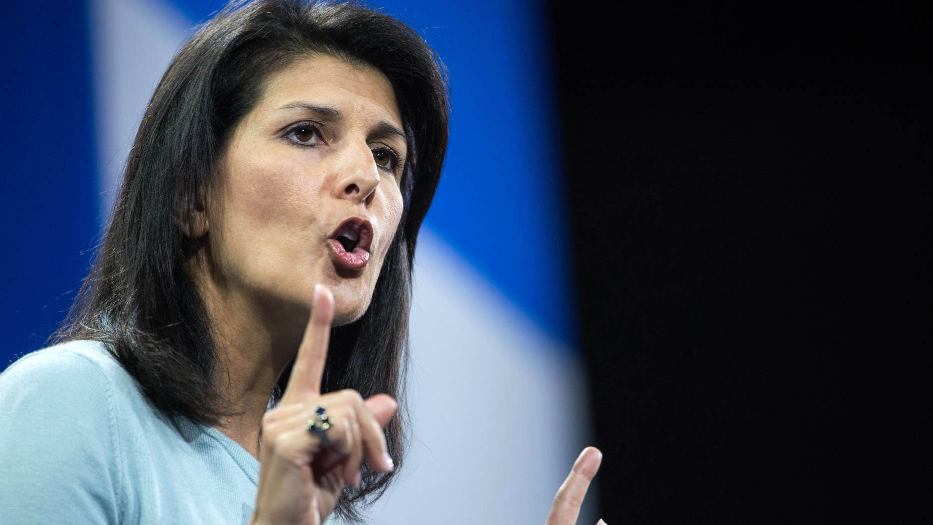 FILE - In this Jan. 9, 2016 file photo, South Carolina Gov. Nikki Haley speaks to the crowd at the Kemp Forum in Columbia, S.C.