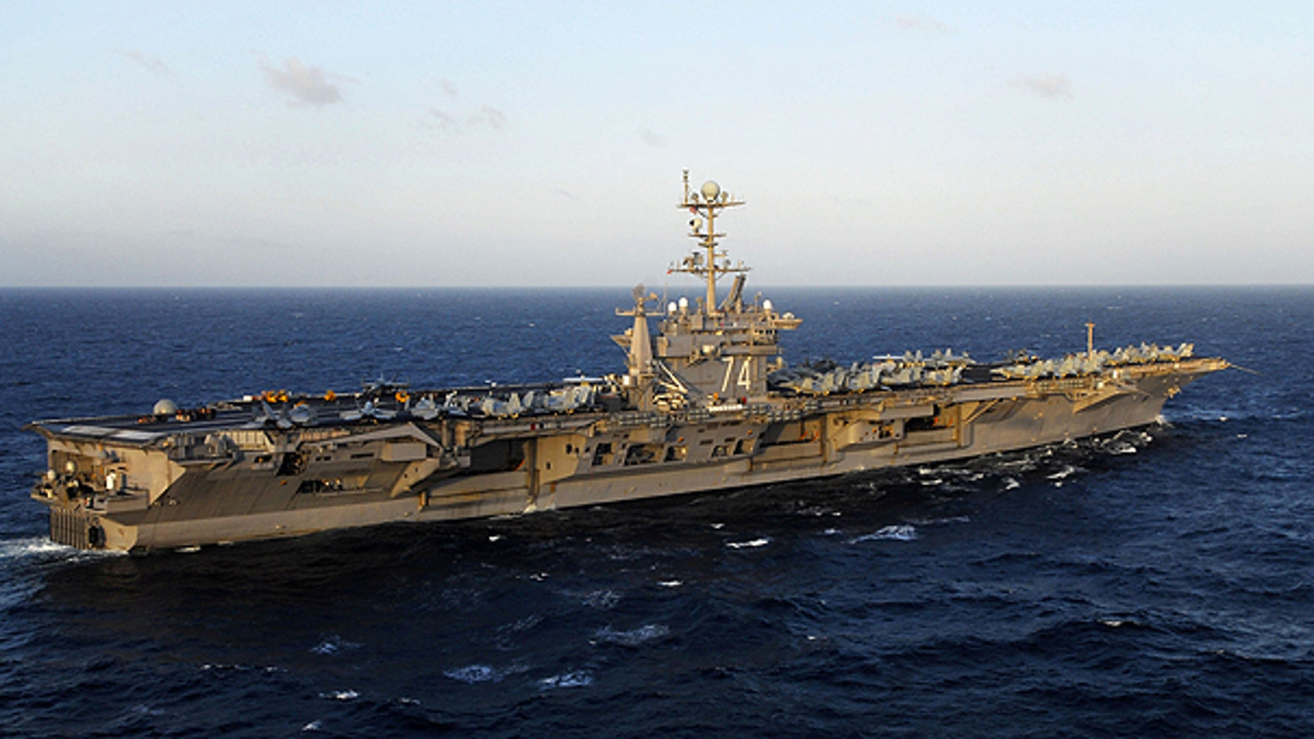 In this image provided by the U.S. Navy the aircraft carrier USS John C. Stennis is shown at sea in the Pacific Ocean on Nov. 14, 2009.