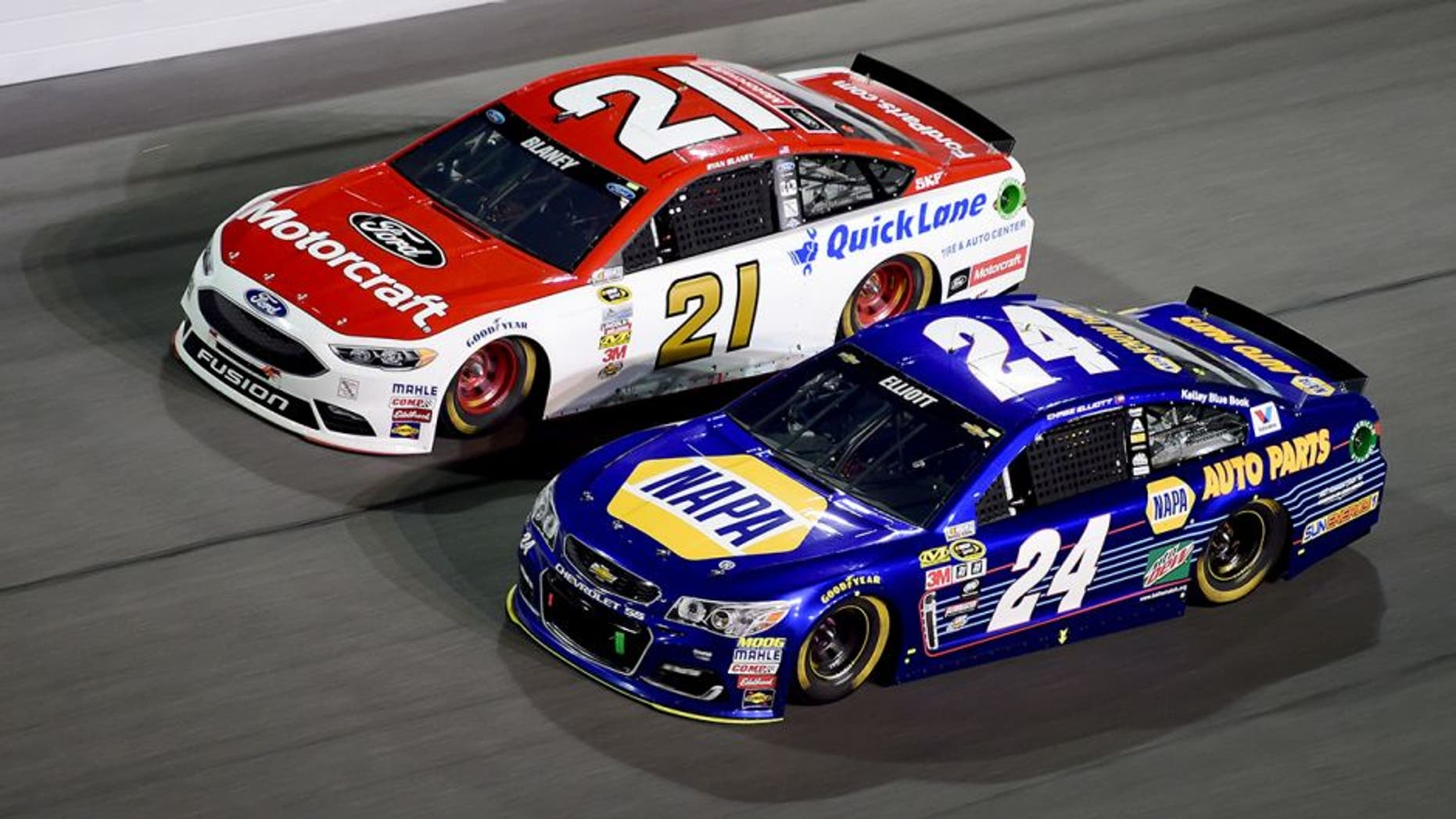 DAYTONA BEACH, FL - FEBRUARY 18: Chase Elliott, driver of the #24 NAPA Auto Parts Chevrolet, races Ryan Blaney, driver of the #21 Motorcraft/Quick Lane Tire & Auto Center Ford, during the NASCAR Sprint Cup Series Can-Am Duels at Daytona International Speedway on February 18, 2016 in Daytona Beach, Florida. (Photo by Jared C. Tilton/Getty Images)