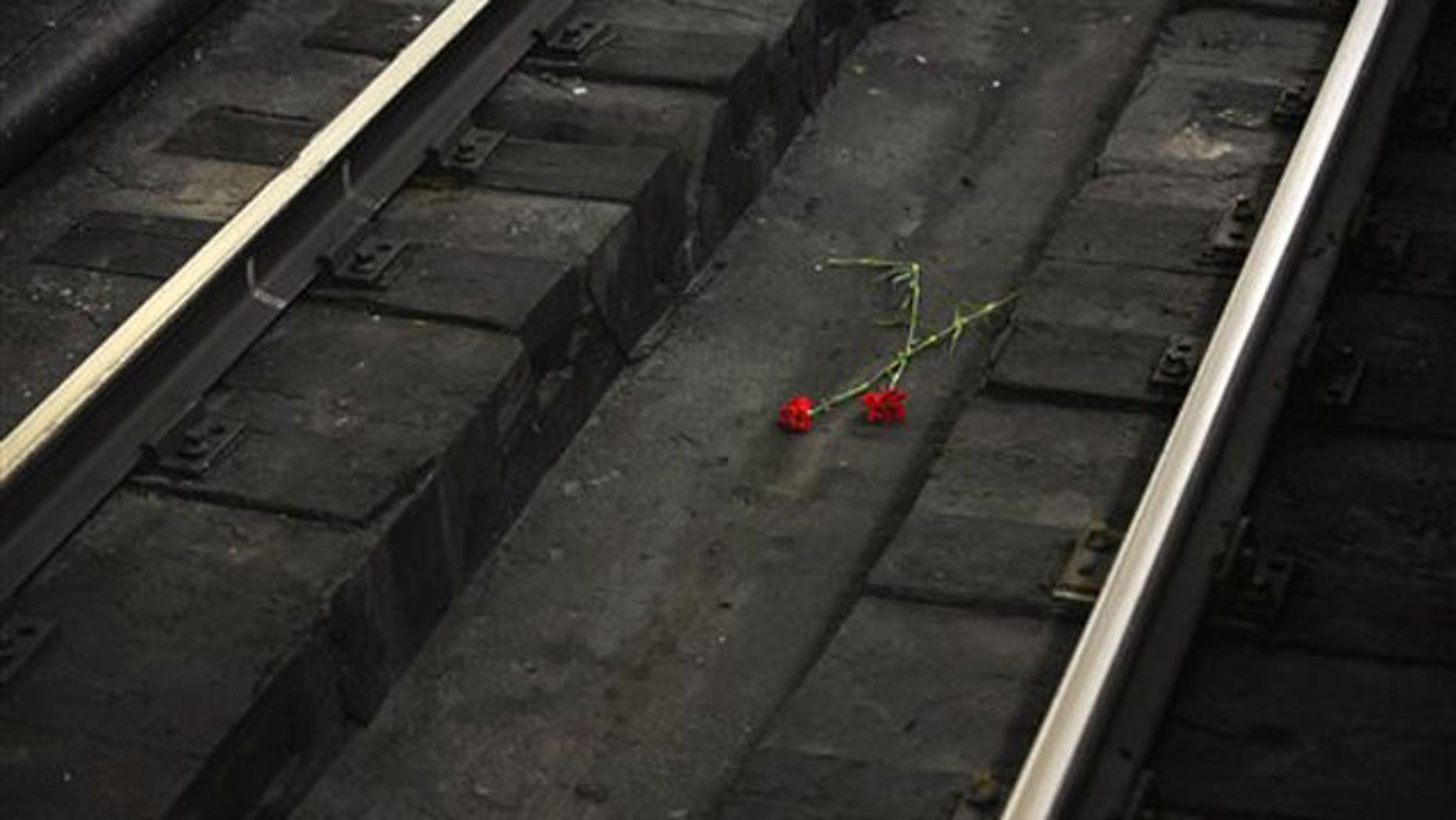 March 31: Two carnations are seen at the site of an explosion at Lubyankka subway station in Moscow.