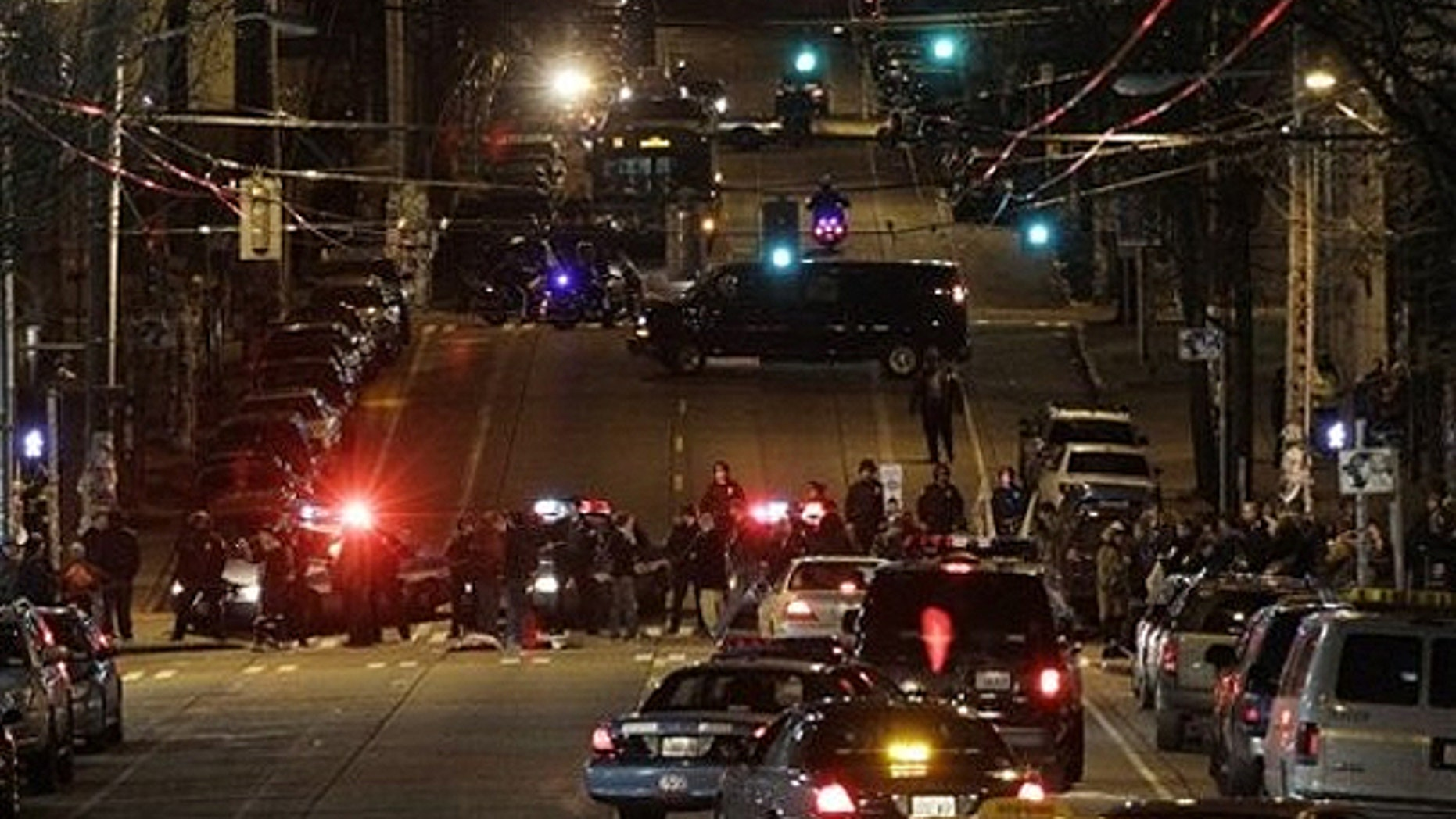 Feb. 16: Seattle Police stand down protestors who marched to within a block of a precinct station in Seattle's Capitol Hill neighborhood during a night-time protest march against Seattle Police Officer Ian Birk.