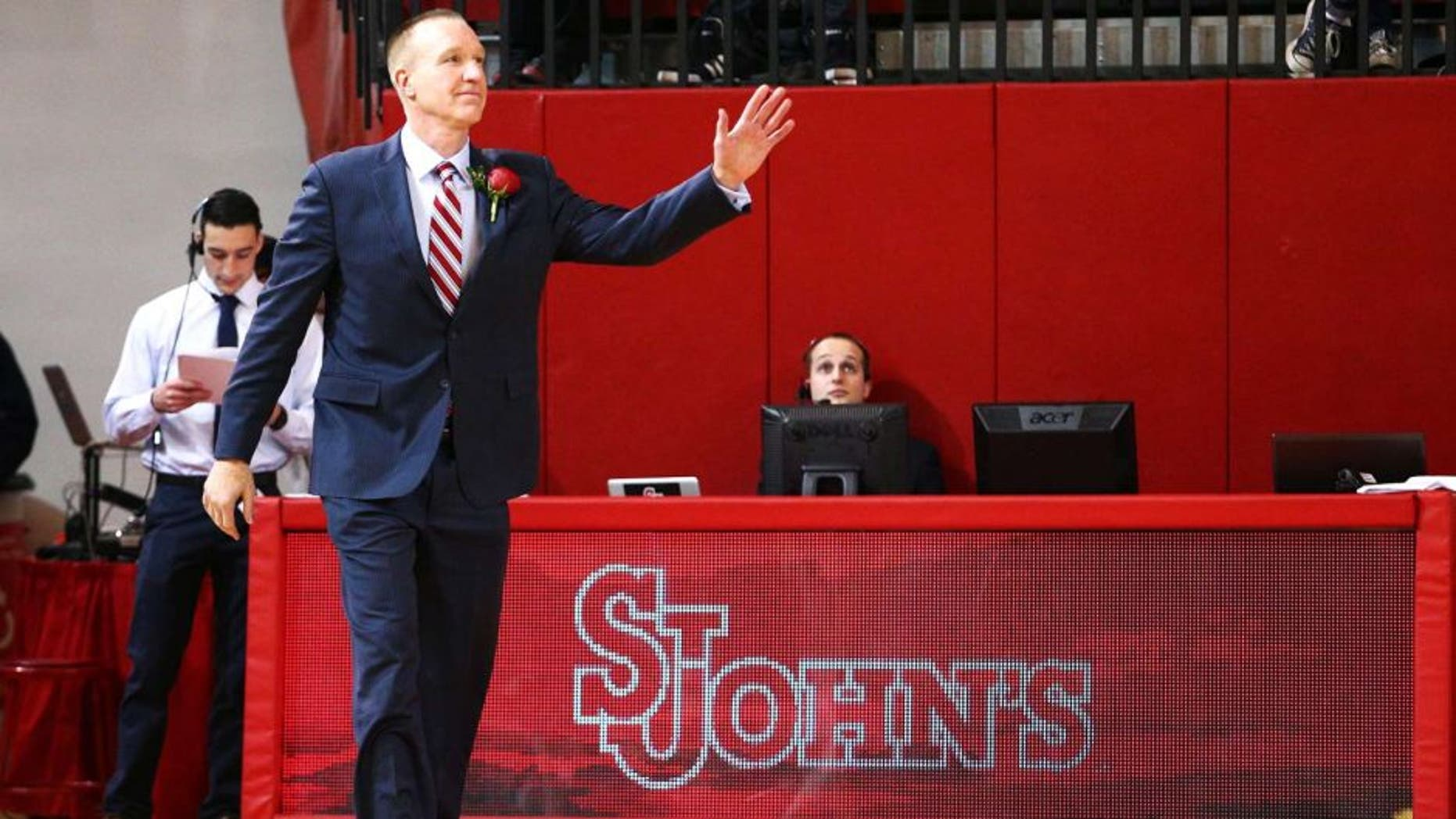 Feb 21, 2015; Jamaica, NY, USA; St. John's Red Storm alum Chris Mullin is inducted into the St. John's hall of fame during halftime against the Seton Hall Pirates at Carnesecca Arena. Mandatory Credit: Brad Penner-USA TODAY Sports