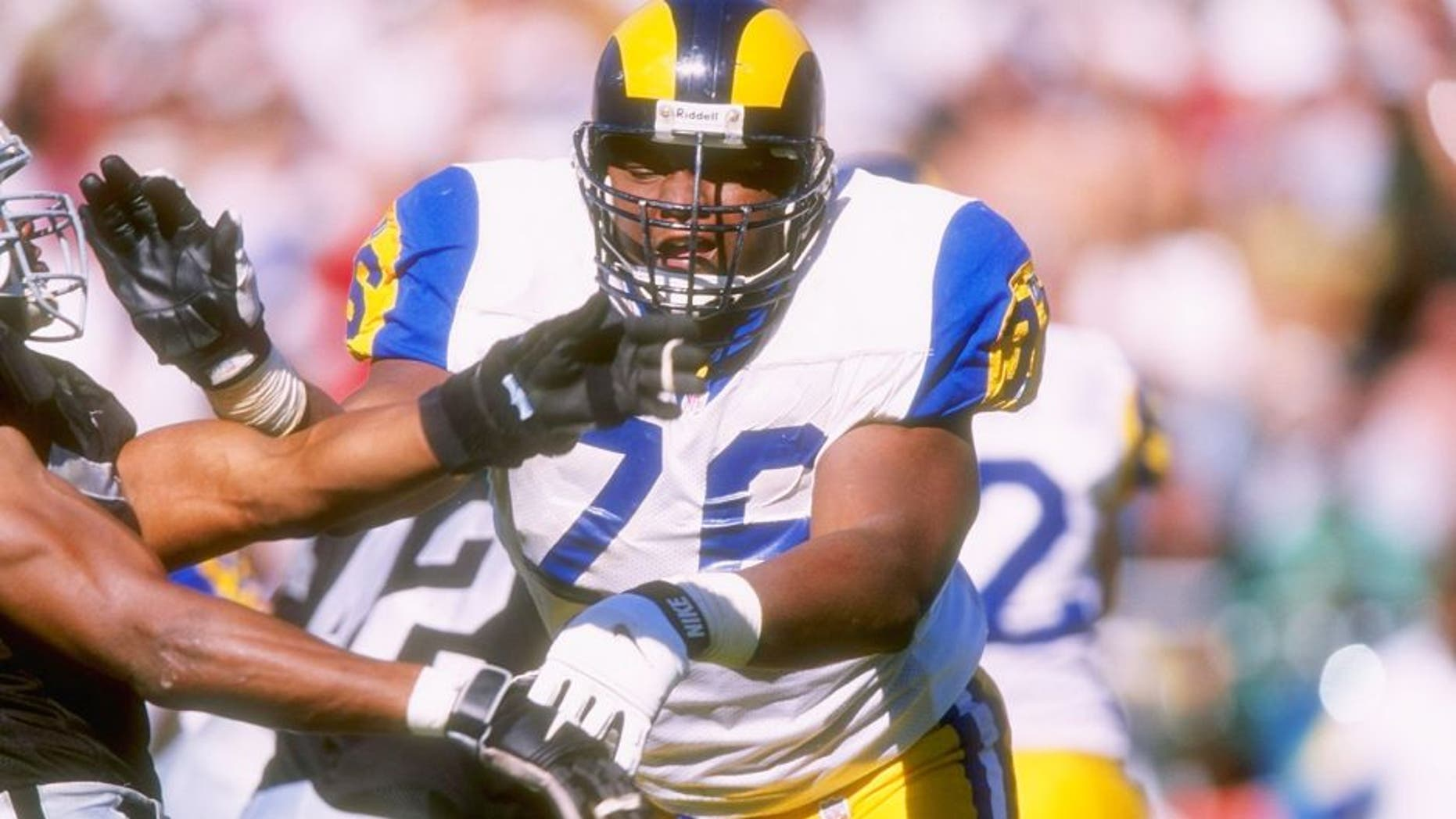 28 Sep 1997: Offensive lineman Orlando Pace #76 of the St. Louis Rams in action during the Rams 35-17 loss to the Oakland Raiders at UMAX Stadium in Oakland, California. Mandatory Credit: Todd Warshaw /Allsport