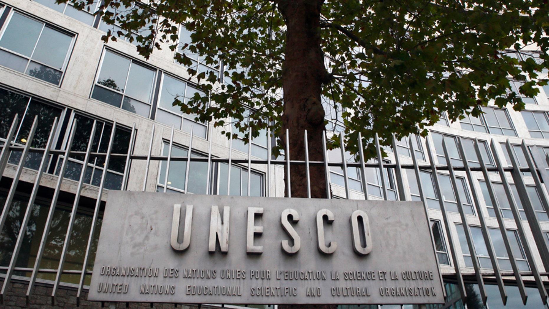 Fotografía de archivo del 17 de octubre de 2016 de oficinas generales de la UNESCO en París. (AP Foto/François Mori, Archivo)