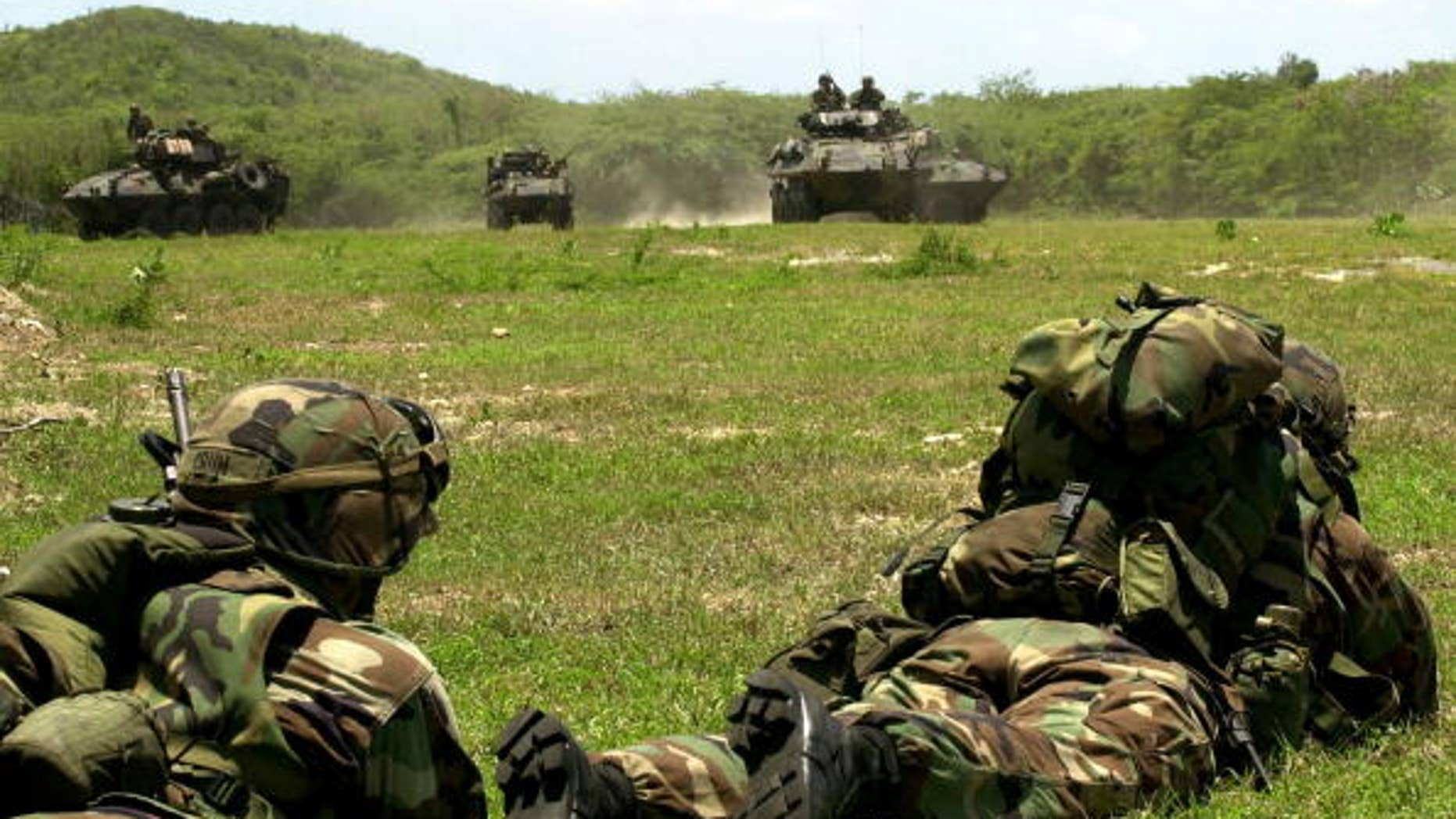 Us Marines Practice Assaulting An Enemy Position August 6, 2001 On The Puerto Rican Island Of Vieques. The Us Marine Corps Are Conducting A Training Exercise On The Island, Which Is Also The Site Of A Controversial Us Navy Bombing Range.