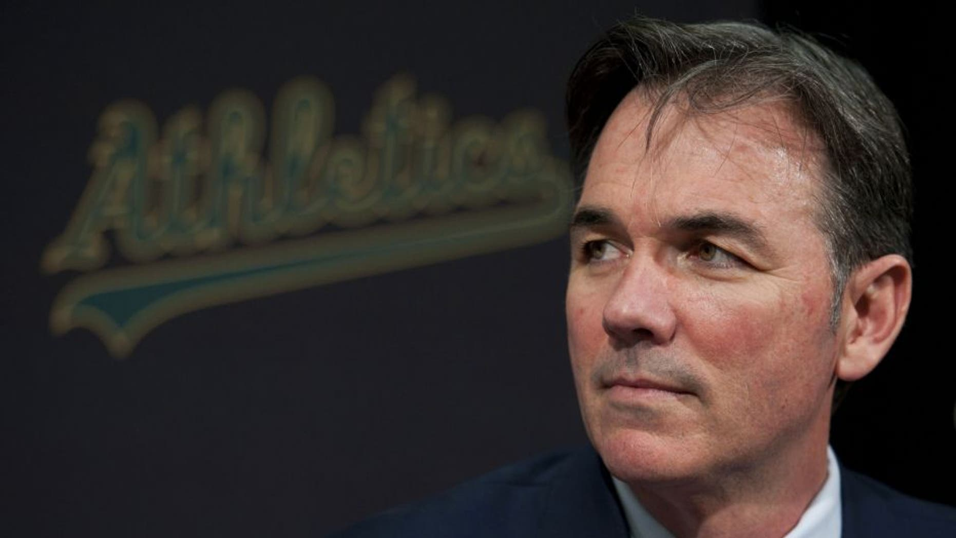 December 14, 2010; Oakland, CA, USA; Oakland Athletics general manager Billy Beane addresses the media during a press conference following designated hitter Hideki Matsui (not pictured) signing with the Athletics at Oakland-Alameda County Coliseum. Mandatory Credit: Kyle Terada-USA TODAY Sports