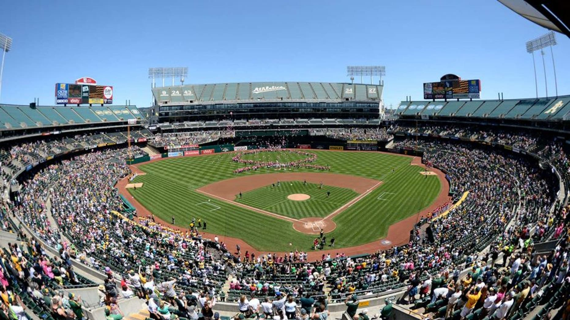 May 11, 2014; Oakland, CA, USA; General view of O.co Coliseum with breast cancer awareness supporters on the field letting go pink balloons before the game between the Oakland Athletics and the Washington Nationals. Mandatory Credit: Kyle Terada-USA TODAY Sports
