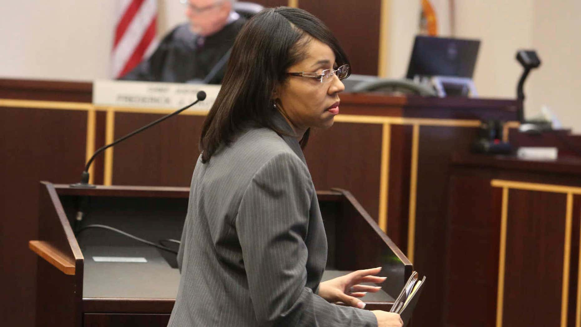 State Attorney Aramis Ayala appears in court in Orlando, Fla., Monday, March 20, 2017, where she asked for Markeith Loyd's case to pause while she researches if Gov. Rick Scott had the authority to pull her off after she announced she would not be seeking the death penalty.