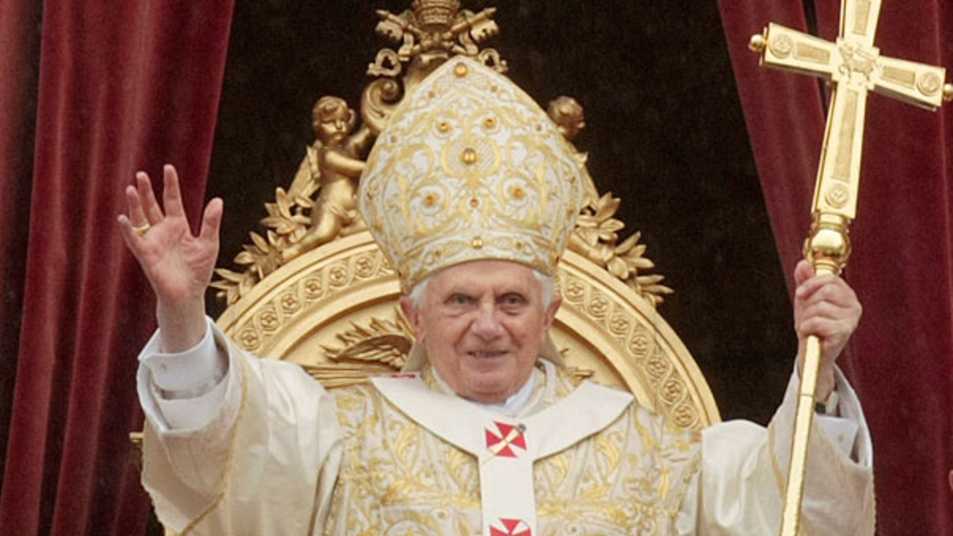 April 4: Pope Benedict XVI waves to faithful at the end of the Easter Mass in St. Peter's square at the Vatican.